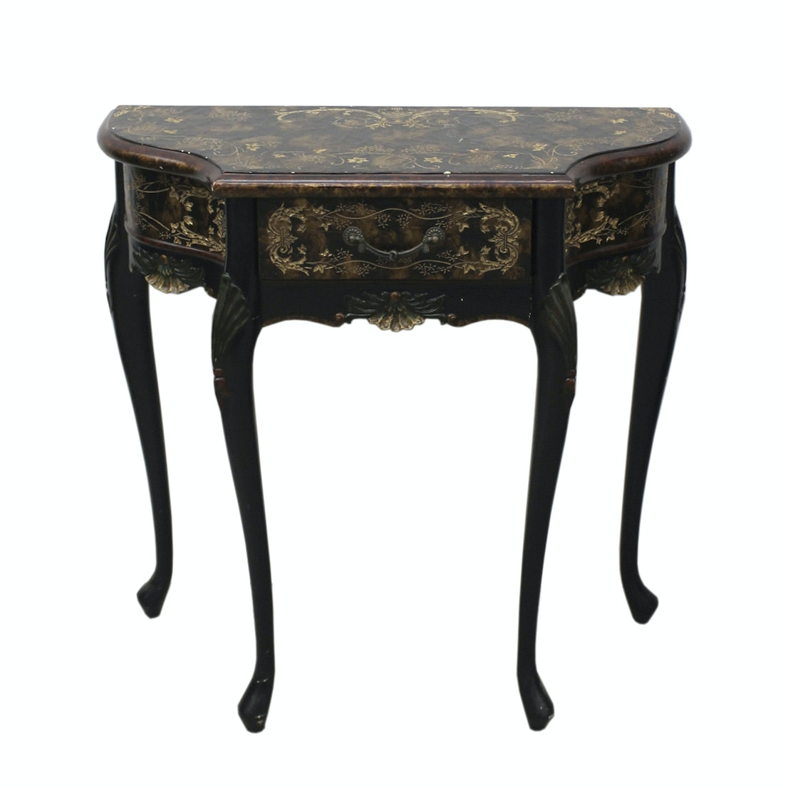 Vintage Louis Xv Style Faux Marble Console Table Ebth