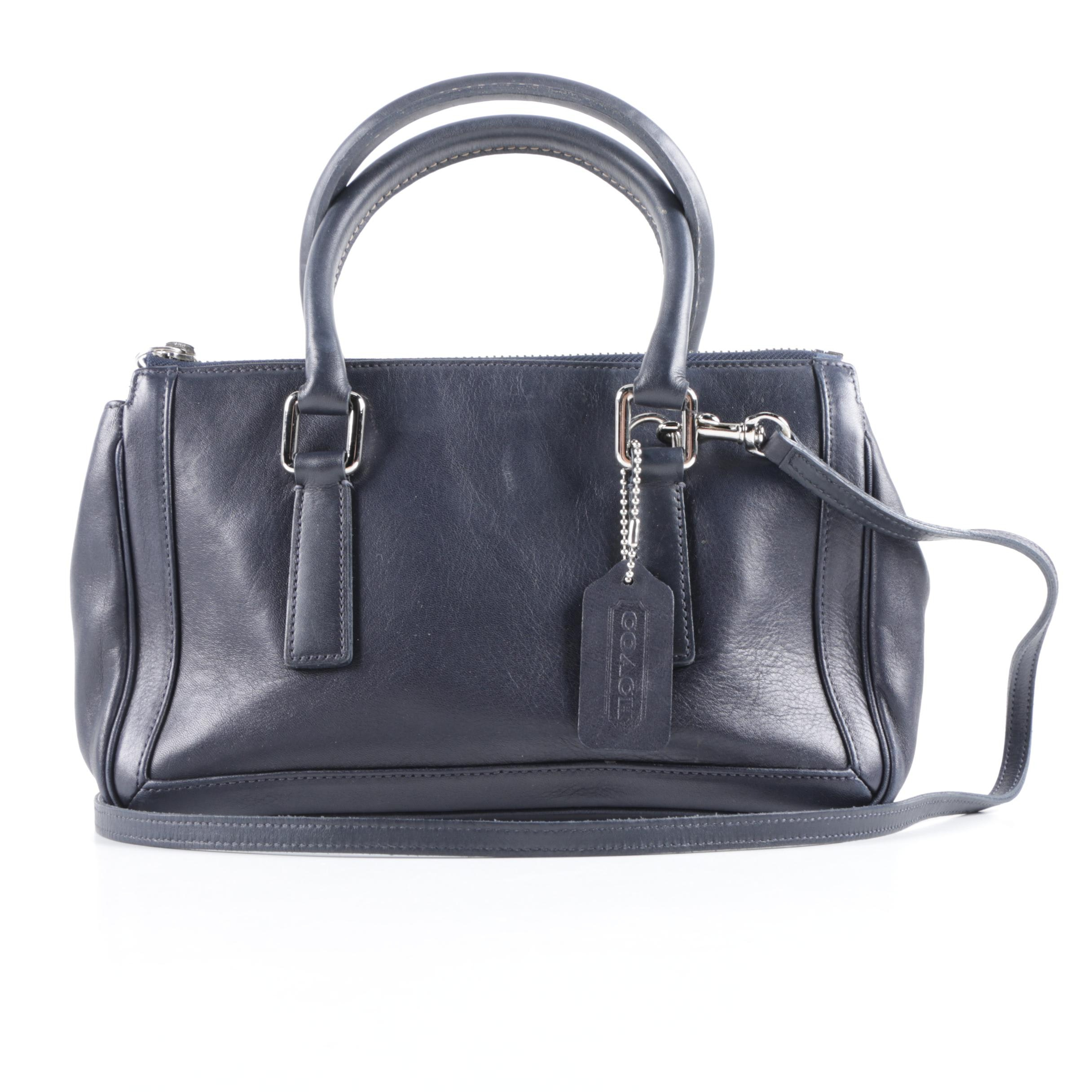 Coach Bonnie Navy Leather Convertible Satchel
