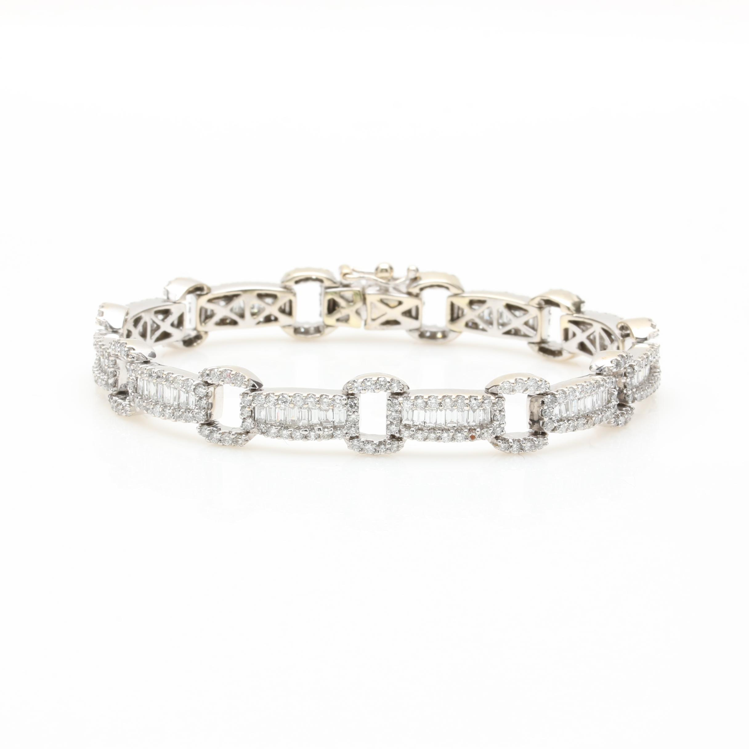 14K White Gold 5.03 CTW Diamond Bracelet