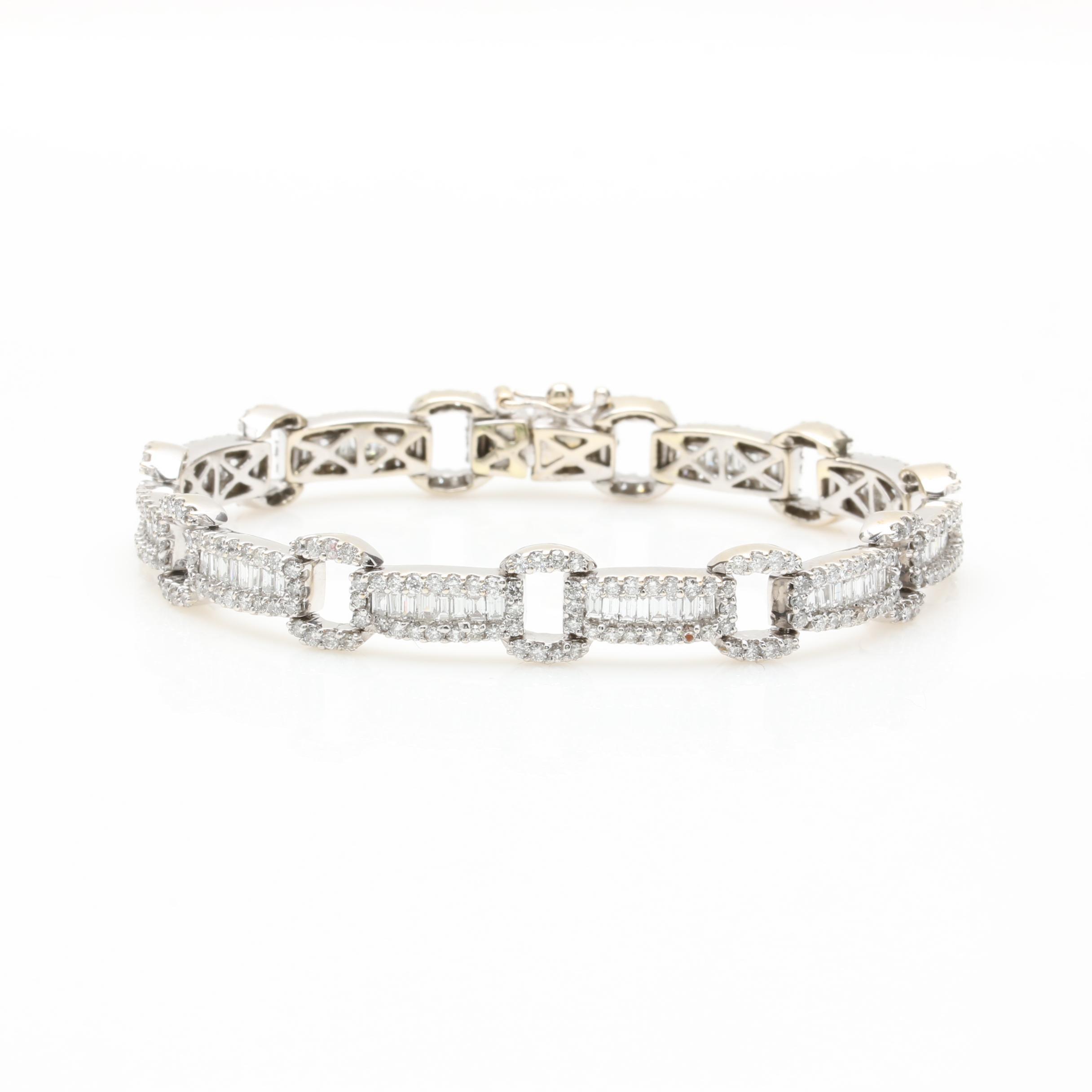 14K White Gold 5.03 CTW Diamond Bracelet