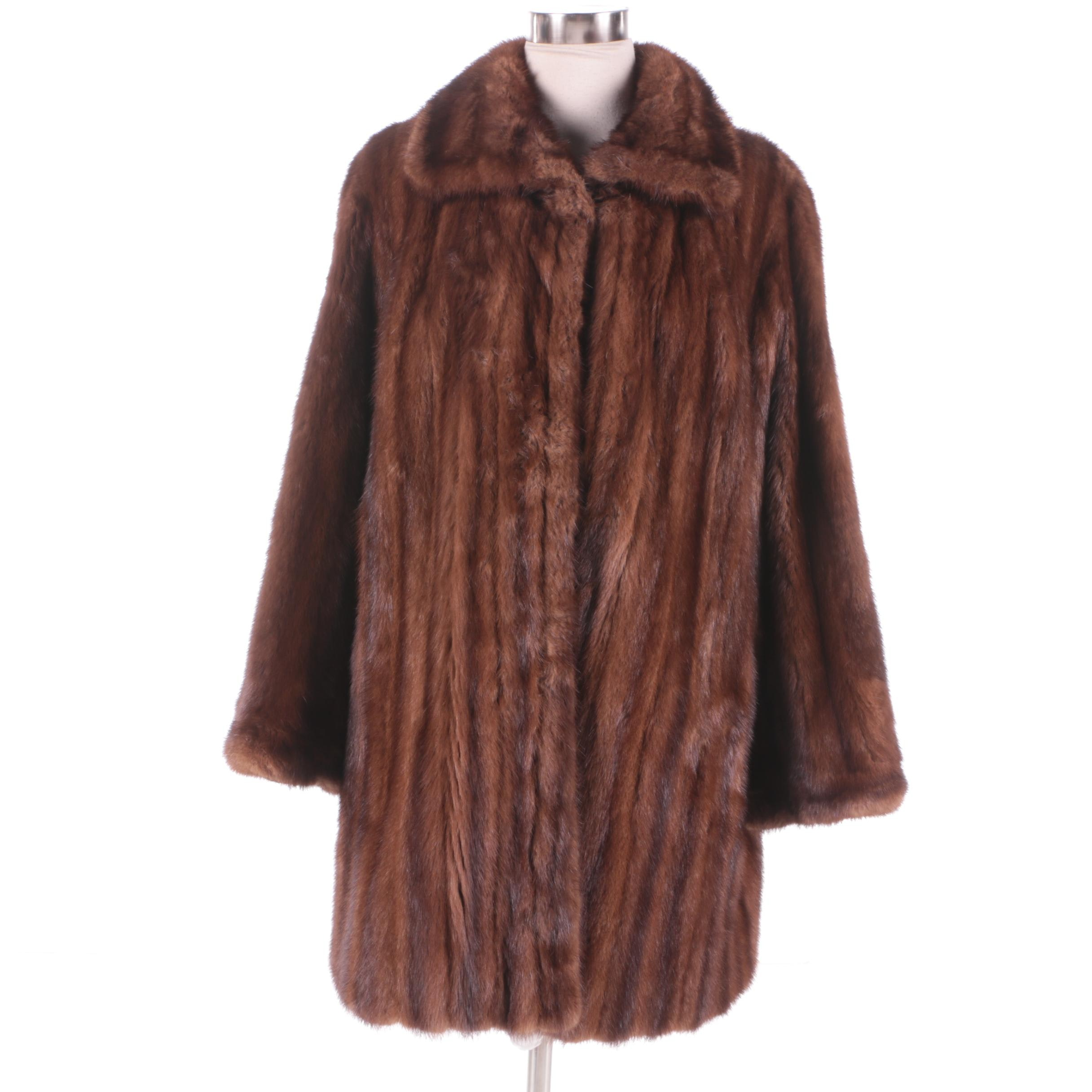 Women's Vintage Mahogany Brown Mink Fur Coat