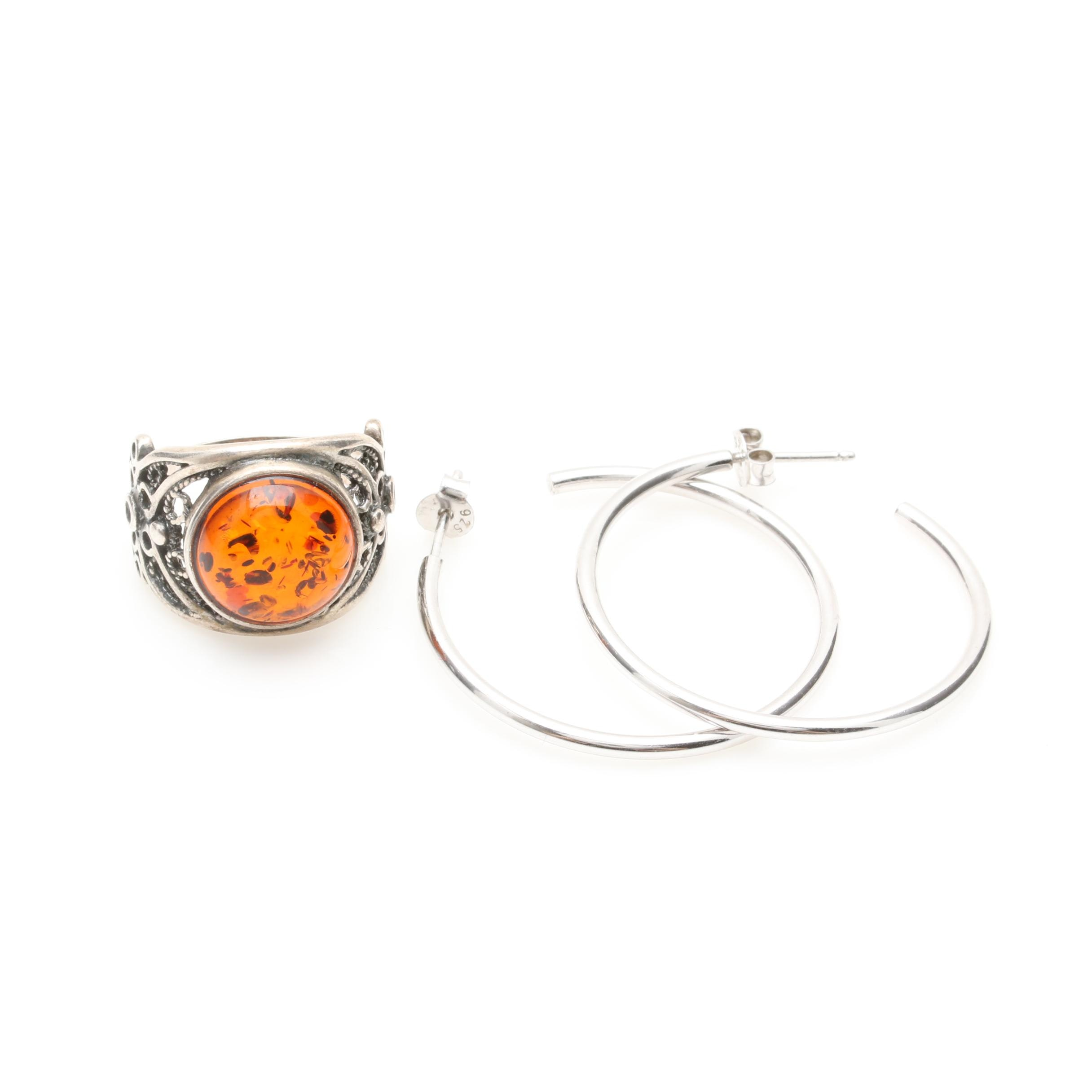 Sterling Silver Polish Made Amber Ring and Hoop Earrings