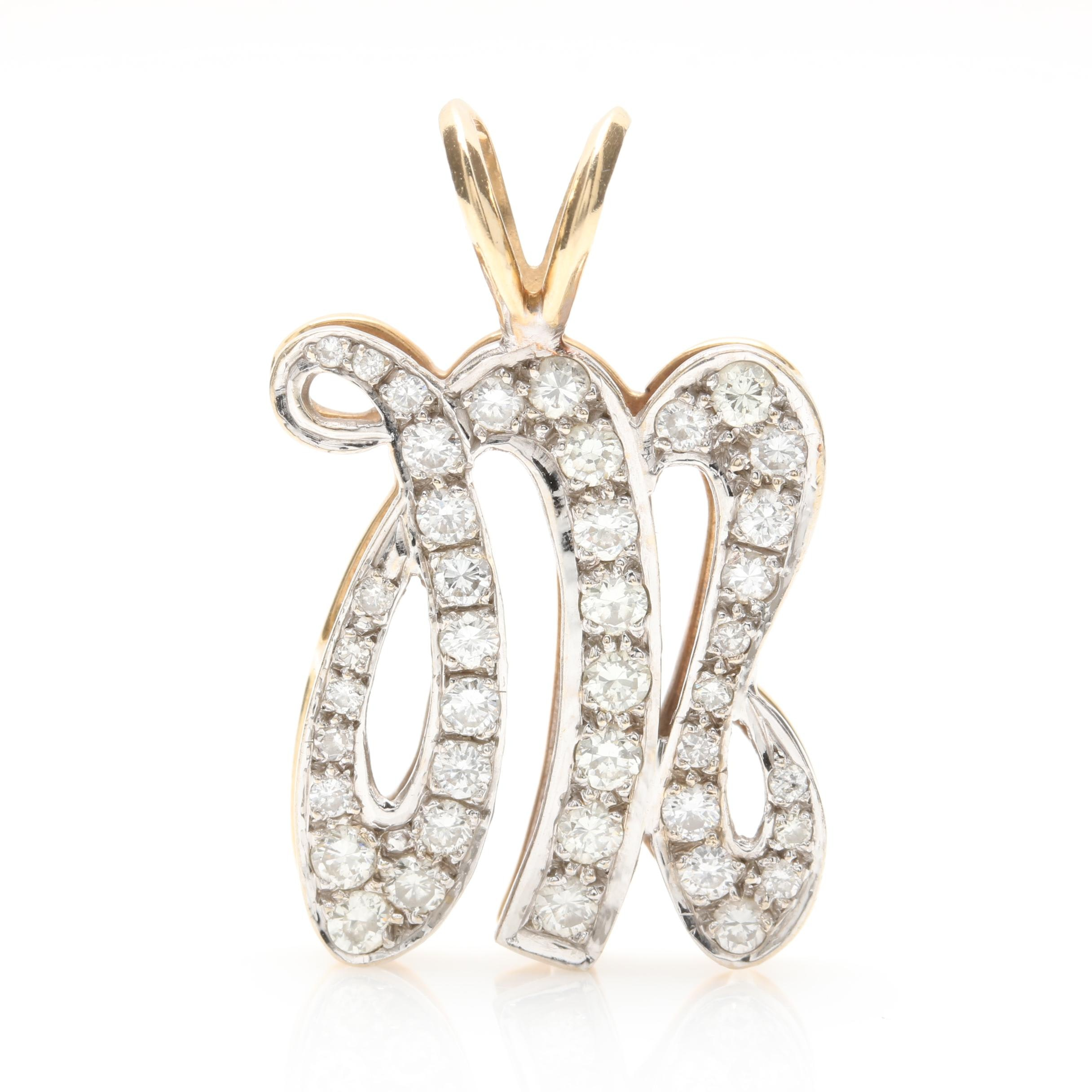 """14K Yellow Gold 1.26 CTW Diamond """"M"""" Pendant with 14K White Gold Accent"""