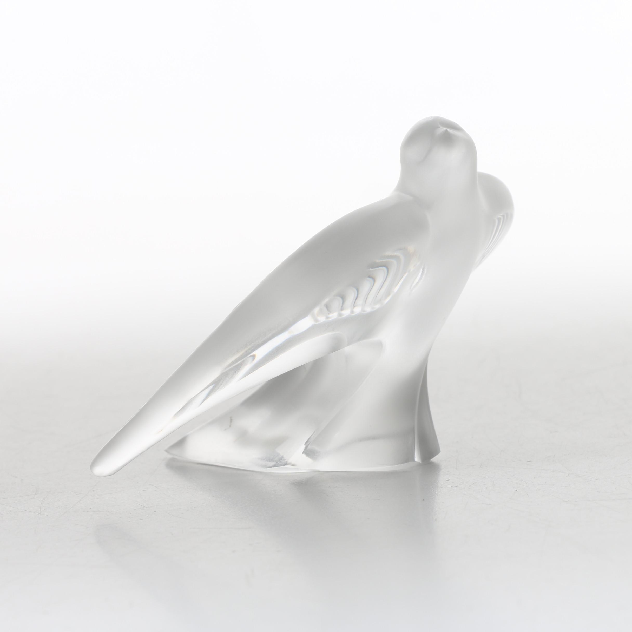 Lalique Frosted Crystal Bird Figurine