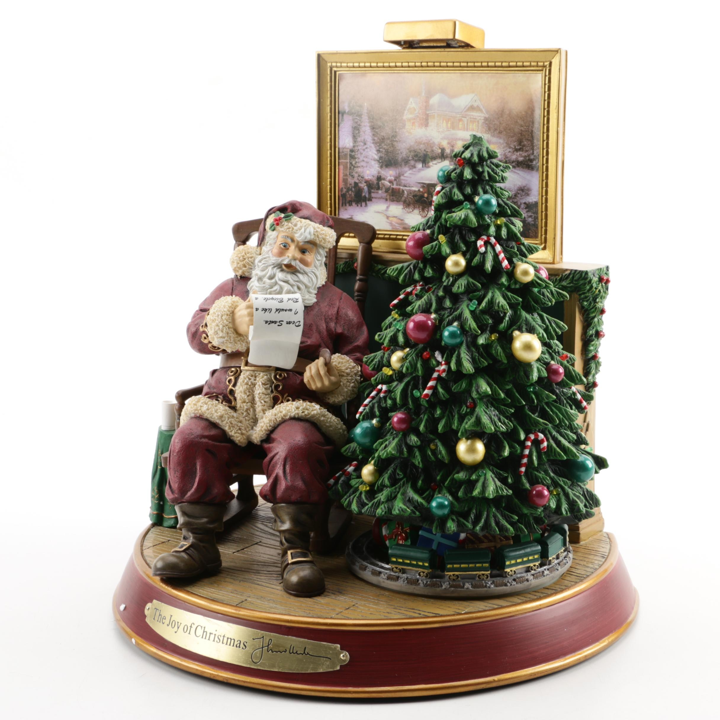 """Thomas Kinkade """"The Joy of Christmas"""" Santa Figurine"""