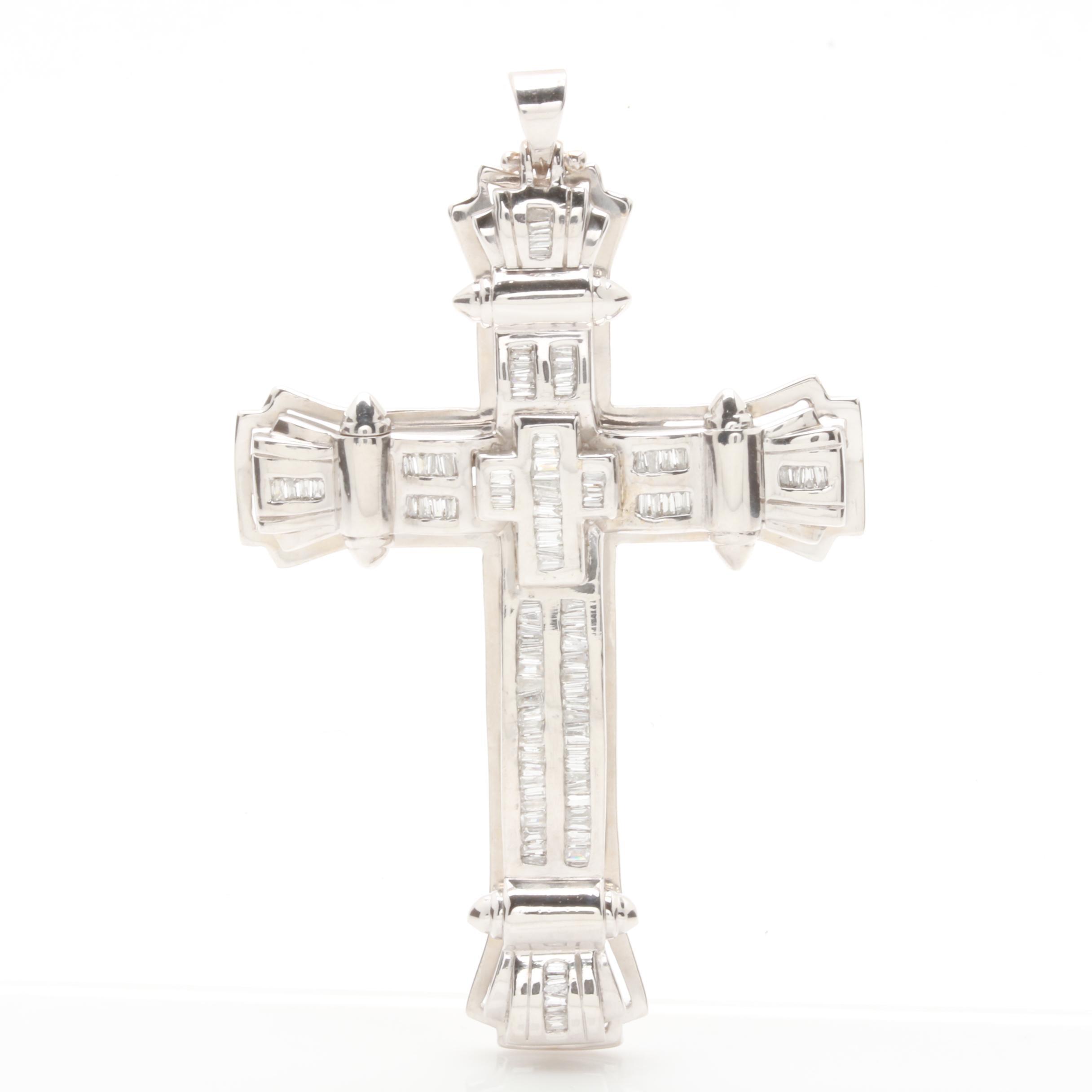 14K White Gold 1.25 CTW Diamond Cross Pendant