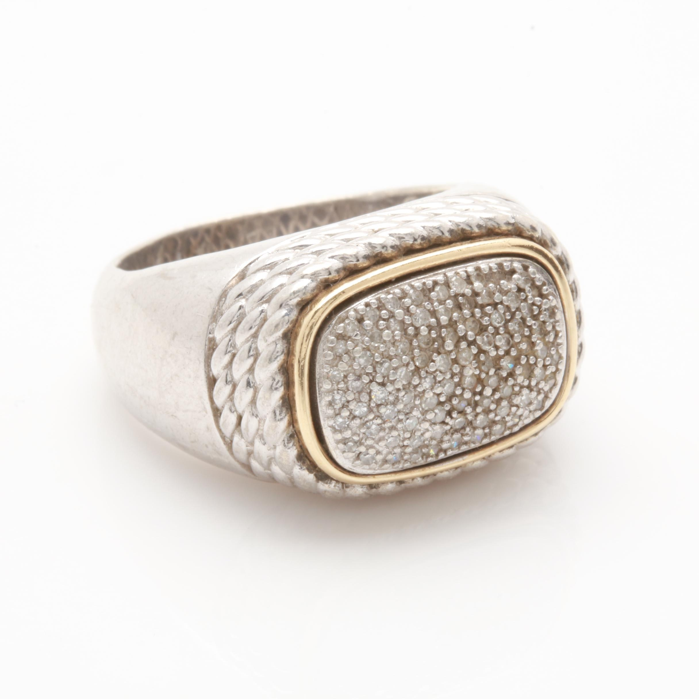 Alwand Vahan Sterling Silver Diamond Ring with 14K Accents