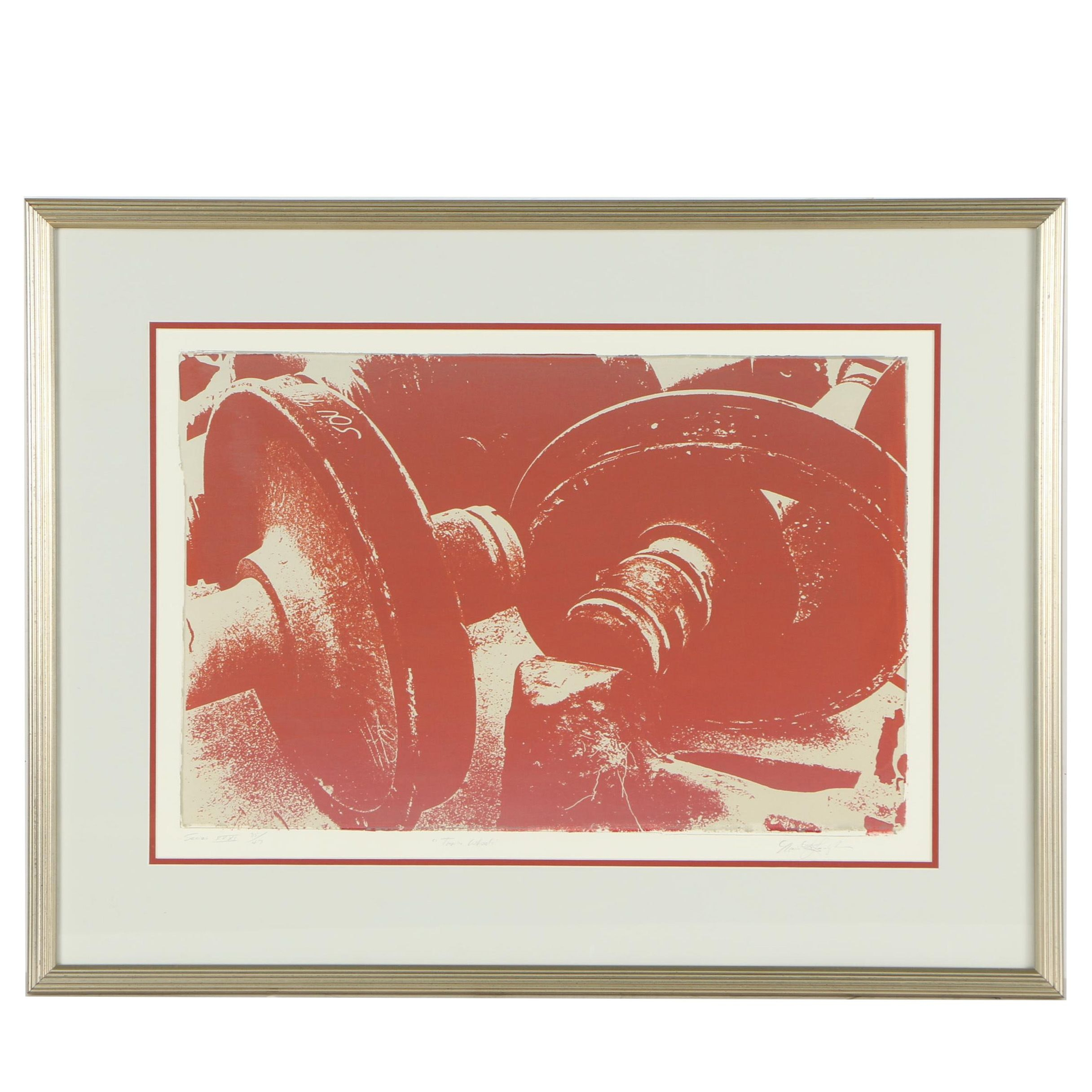 "Late 20th Century Serigraph ""Train Wheels"""