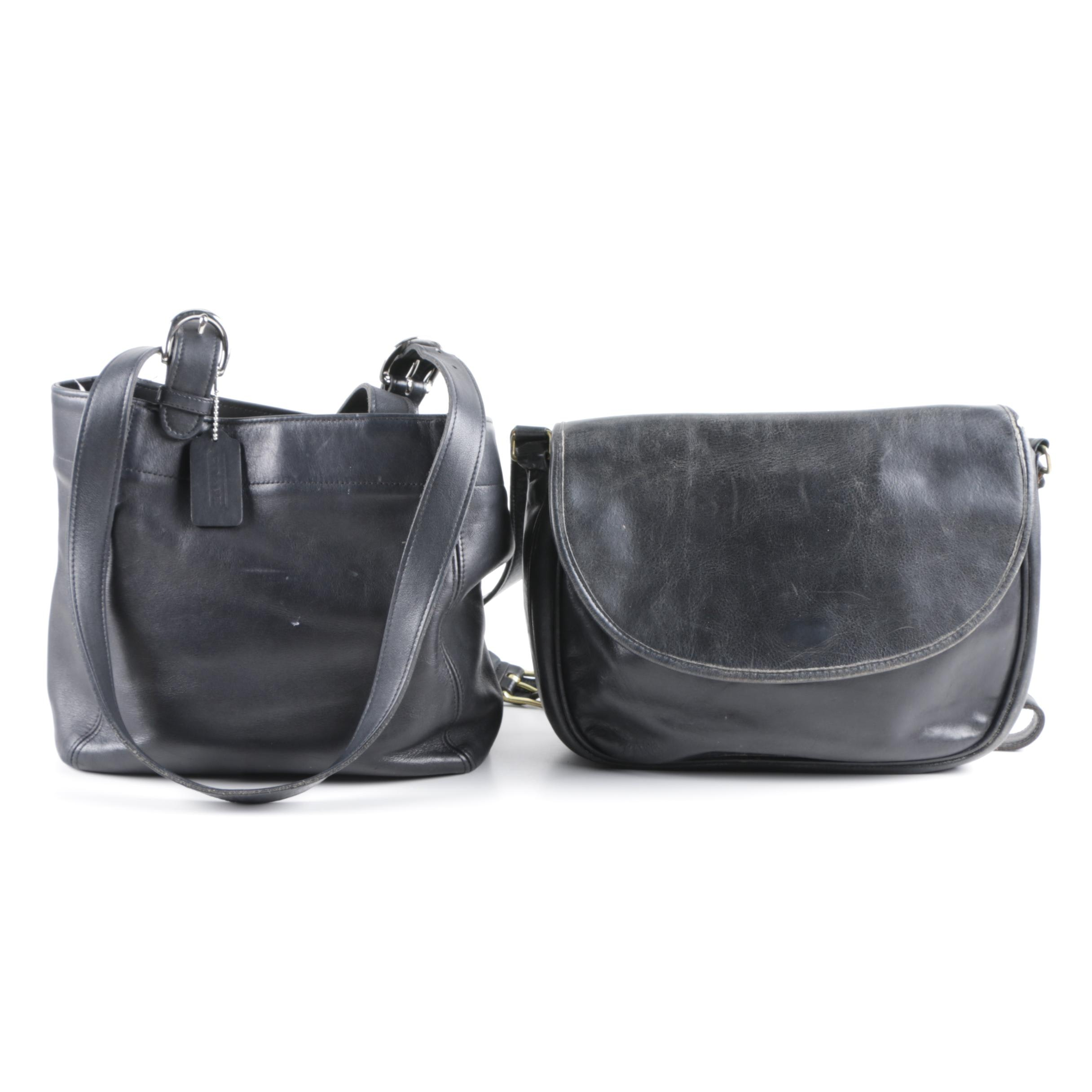 Vintage Coach Black Leather Shoulder Bags