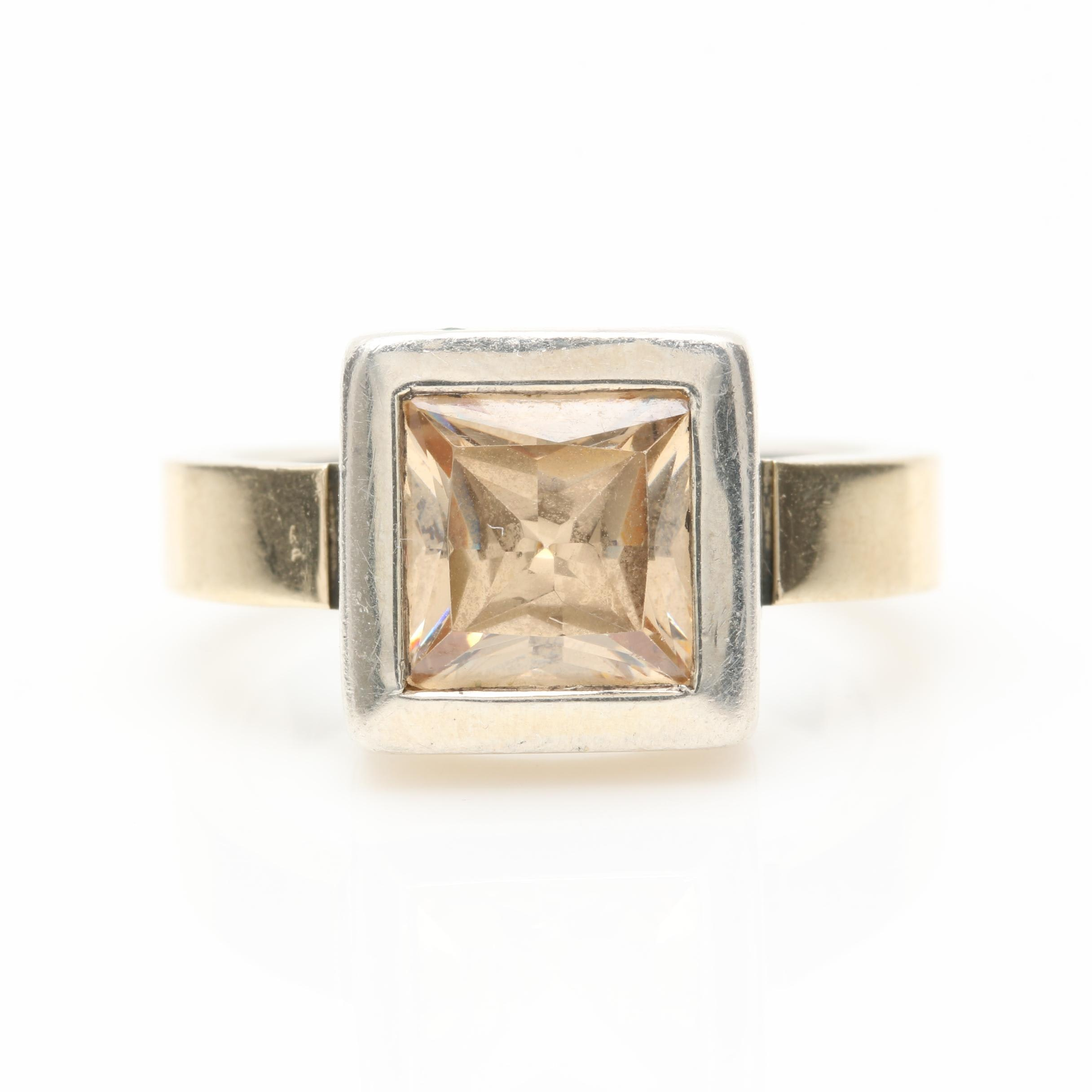 Sterling Silver Cubic Zirconia Ring With 14K Gold Accents