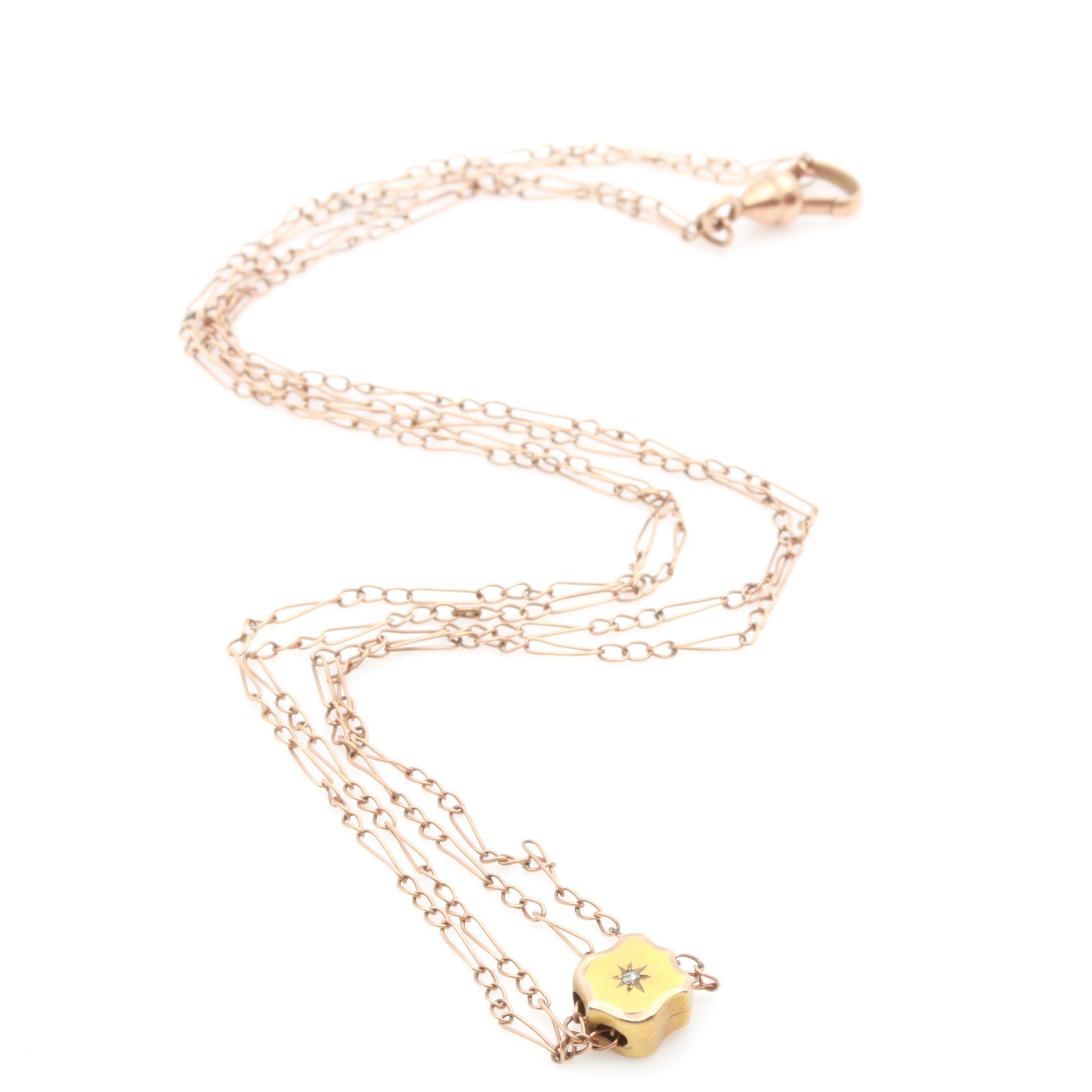 Victorian 10K Yellow Gold Diamond Sliding Watch Fob Necklace