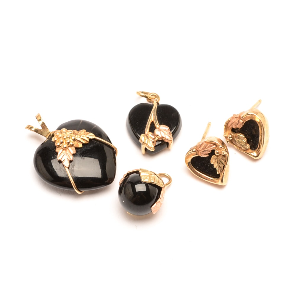 10K Tri-Color Gold Black Onyx Stud Earrings and Three Pendants