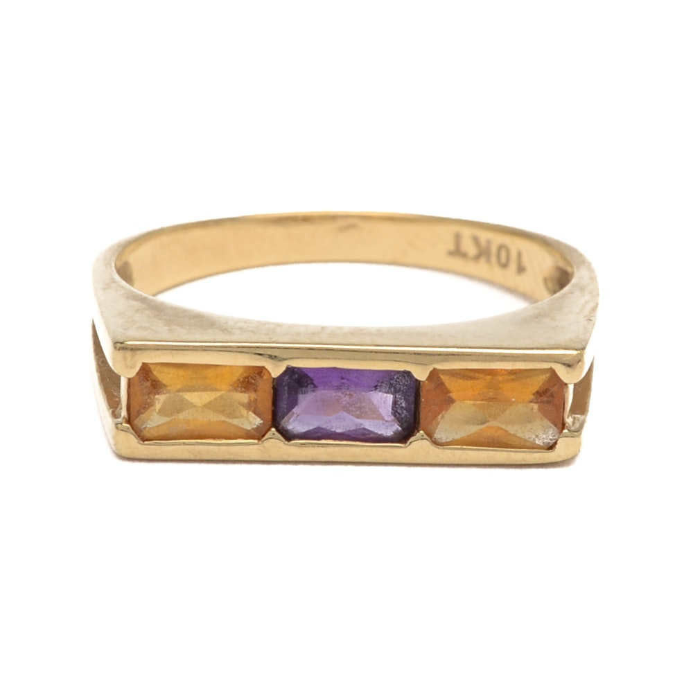 10K Yellow Gold Modernist Ring with Amethyst and Citrine