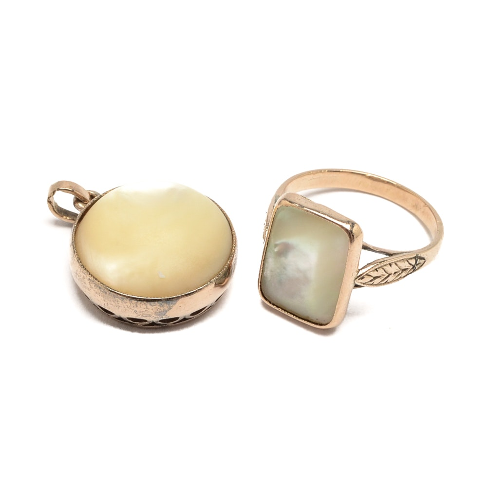 10K Yellow Gold Victorian Mother of Pearl Ring and Pendant