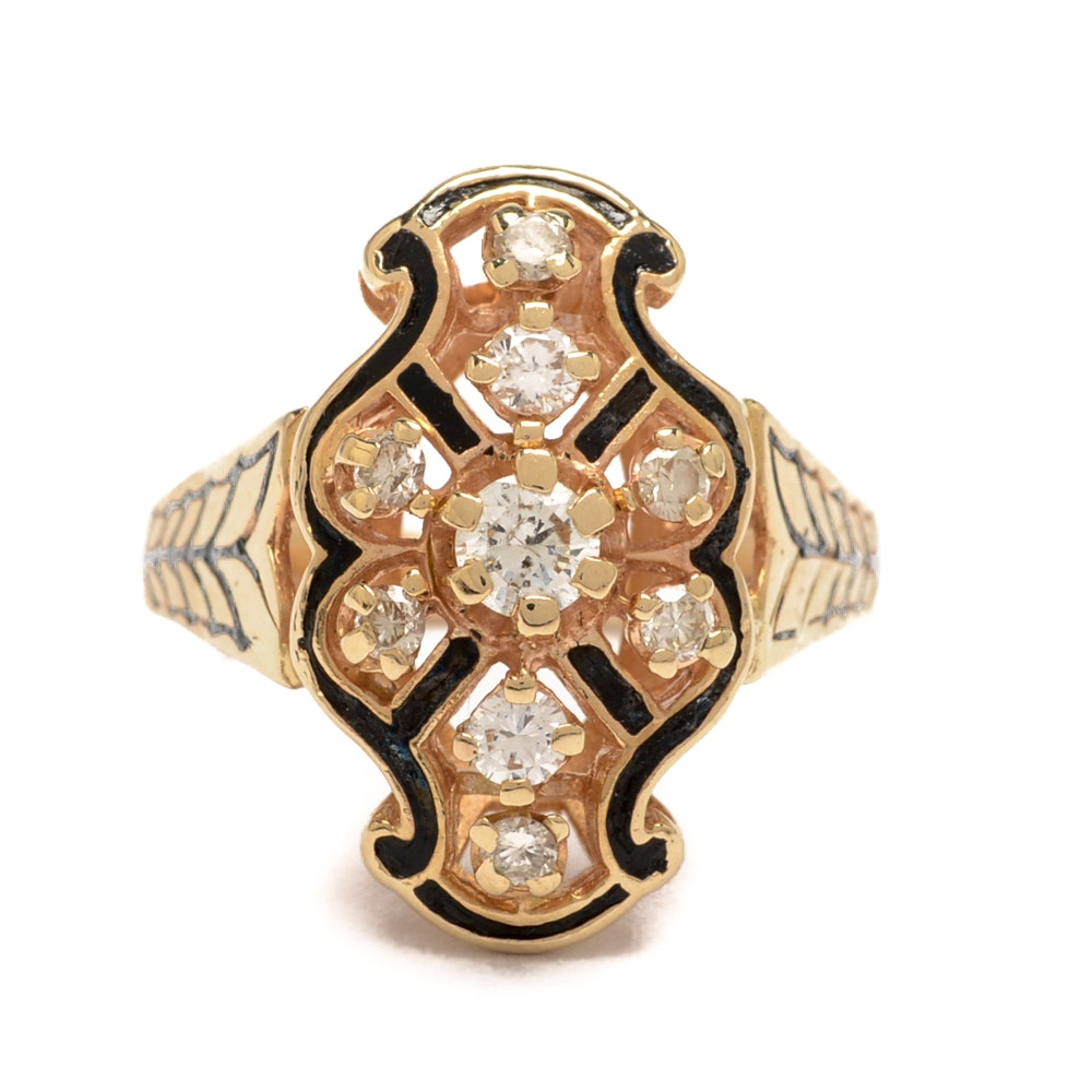 Vintage Art Deco Style 14K Gold Diamond Ring with Enamel Detailing