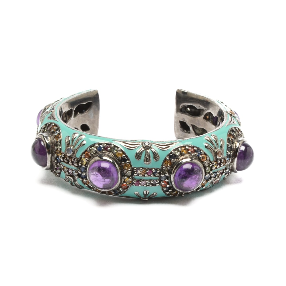 Matthew Campbell Laurenza Sterling Silver Amethyst and Sapphire Cuff