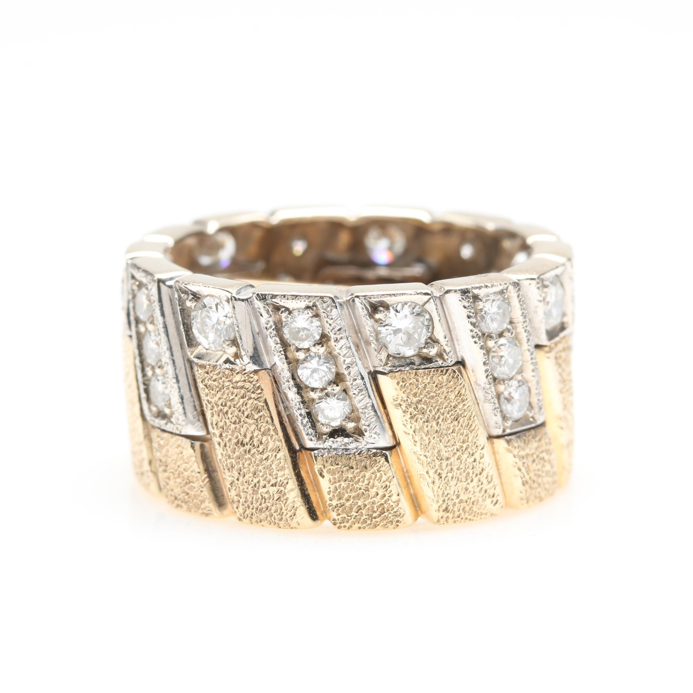 14K Yellow Gold 1.28 CTW Diamond Ring with 14K White Gold Accents