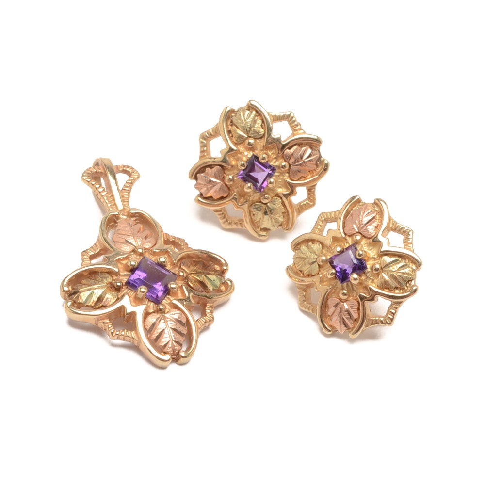 10K Gold Amethyst Pendant and Matching Earrings