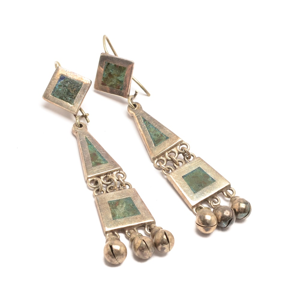 Vintage Los Castillos Sterling Silver Dangle Earrings