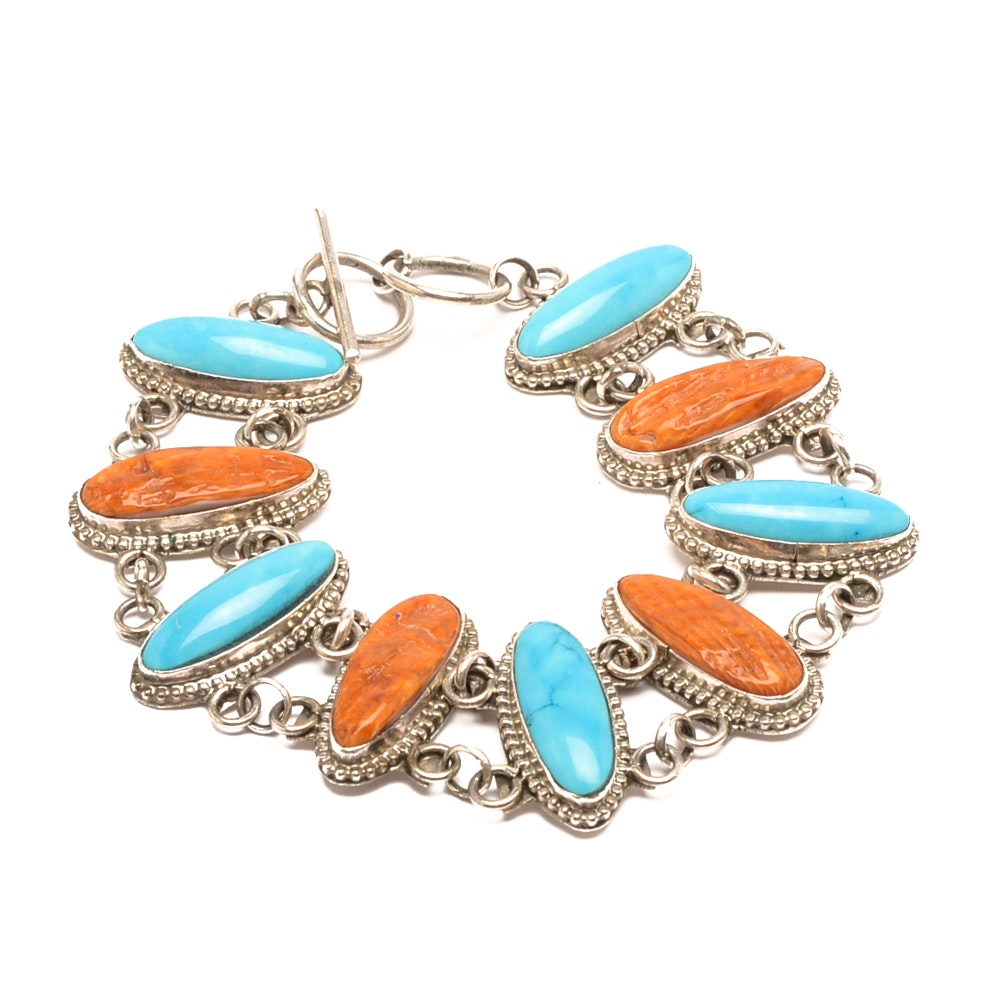 Harry Begay Navajo Diné Sterling Silver Shell and Blue Dyed Magnesite Bracelet