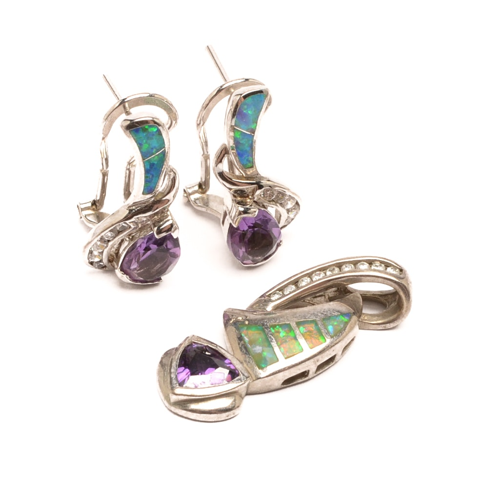Sterling Silver Amethyst and Synthetic Opal Jewelry with Cubic Zirconia Accents