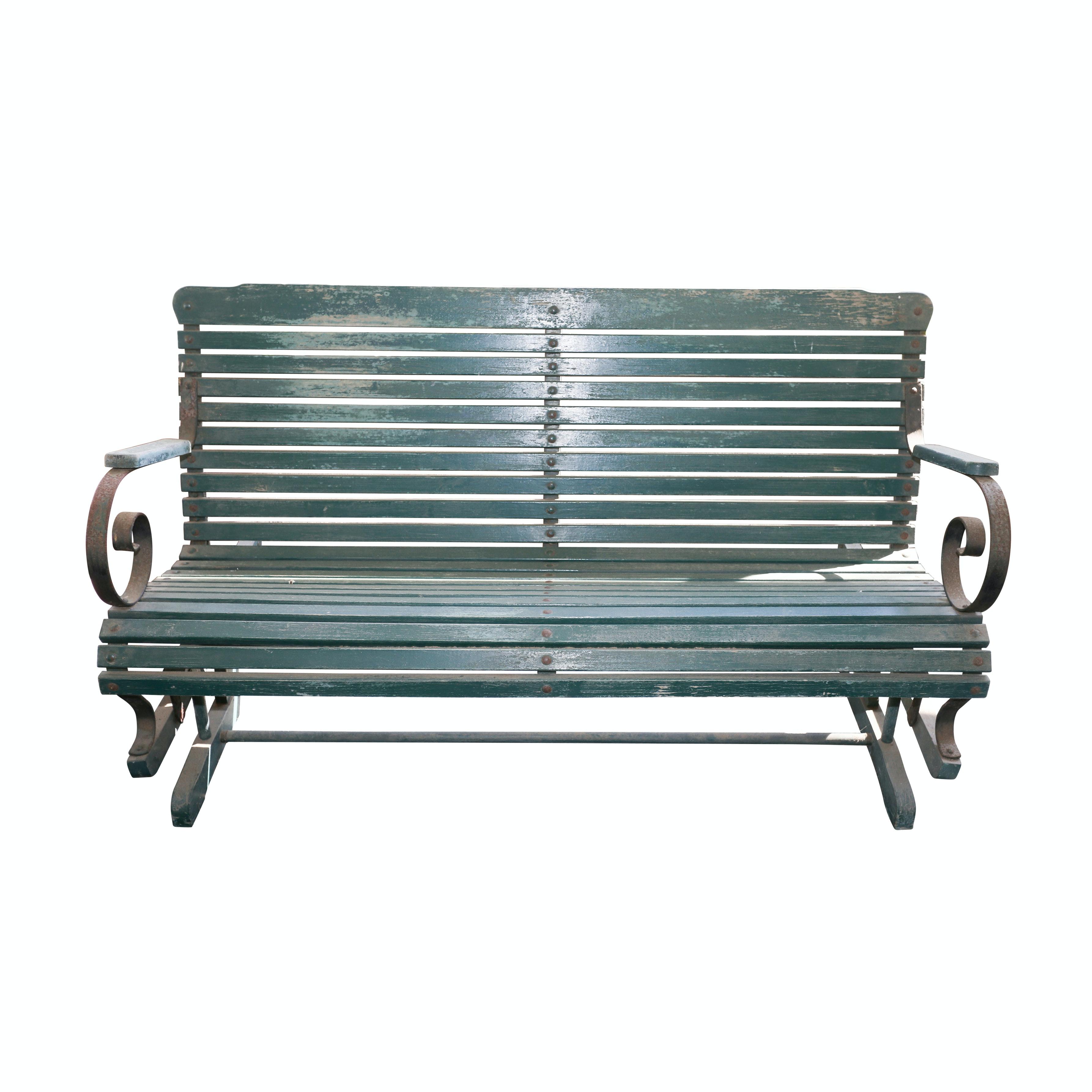 Vintage Green Rocking Bench
