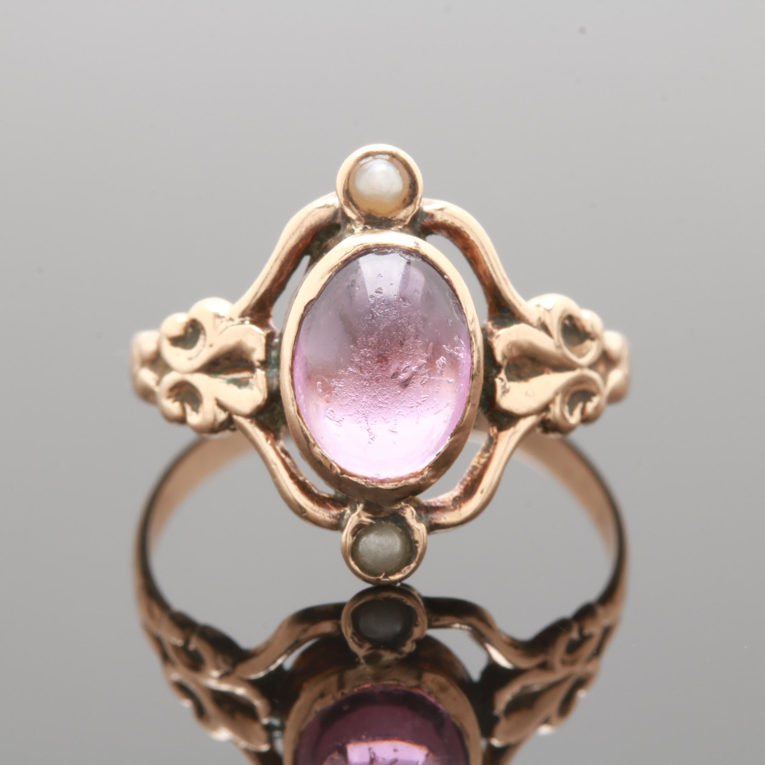 Victorian 10K Yellow Gold Purple Glass and Seed Pearl Ring