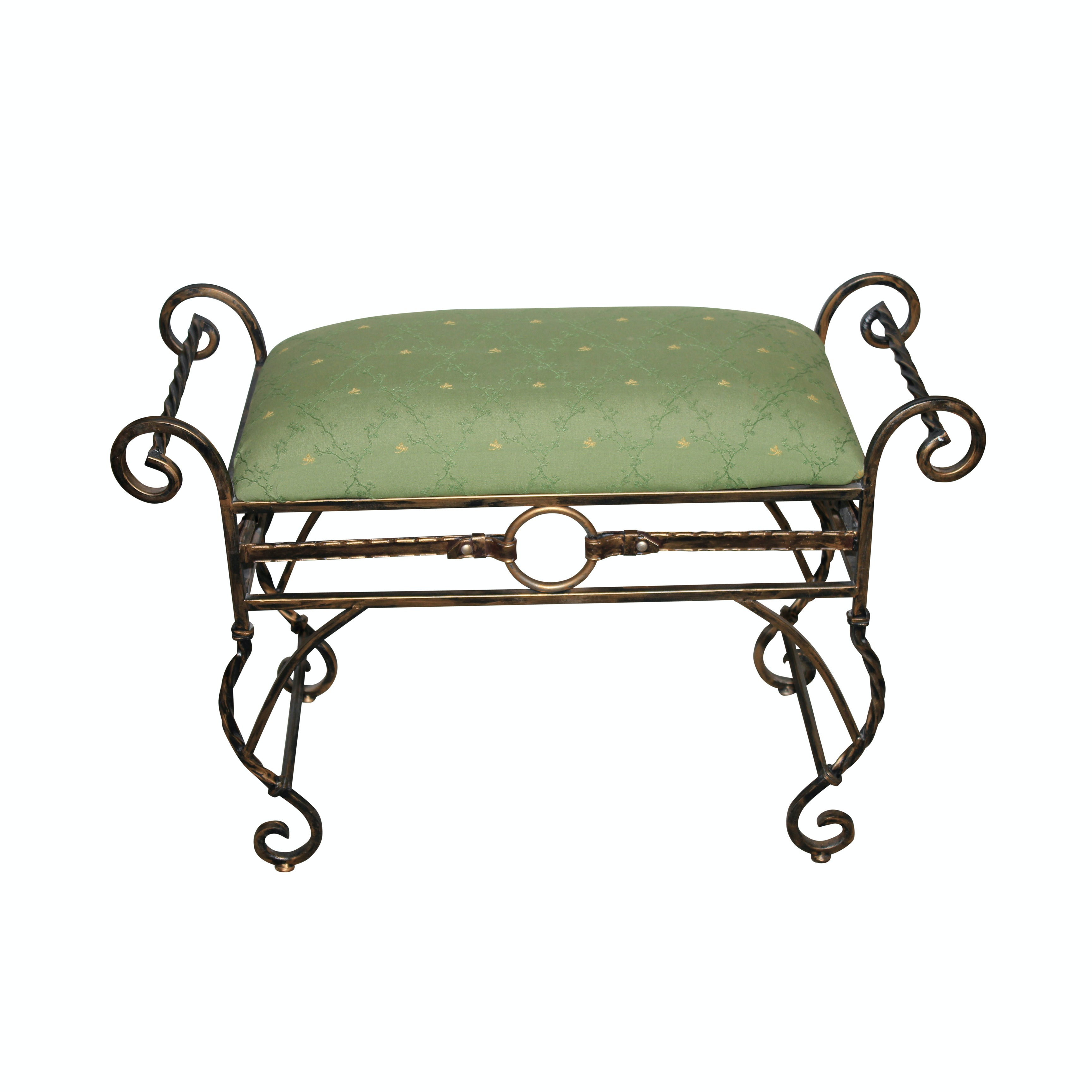 Metal Vanity Bench with Green Seat Cushion