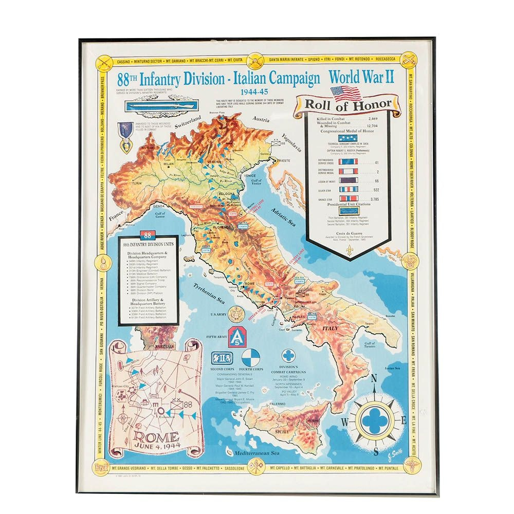 """1991 Offset Lithograph """"88th Infantry Division, Italian Campaign, World War II"""""""