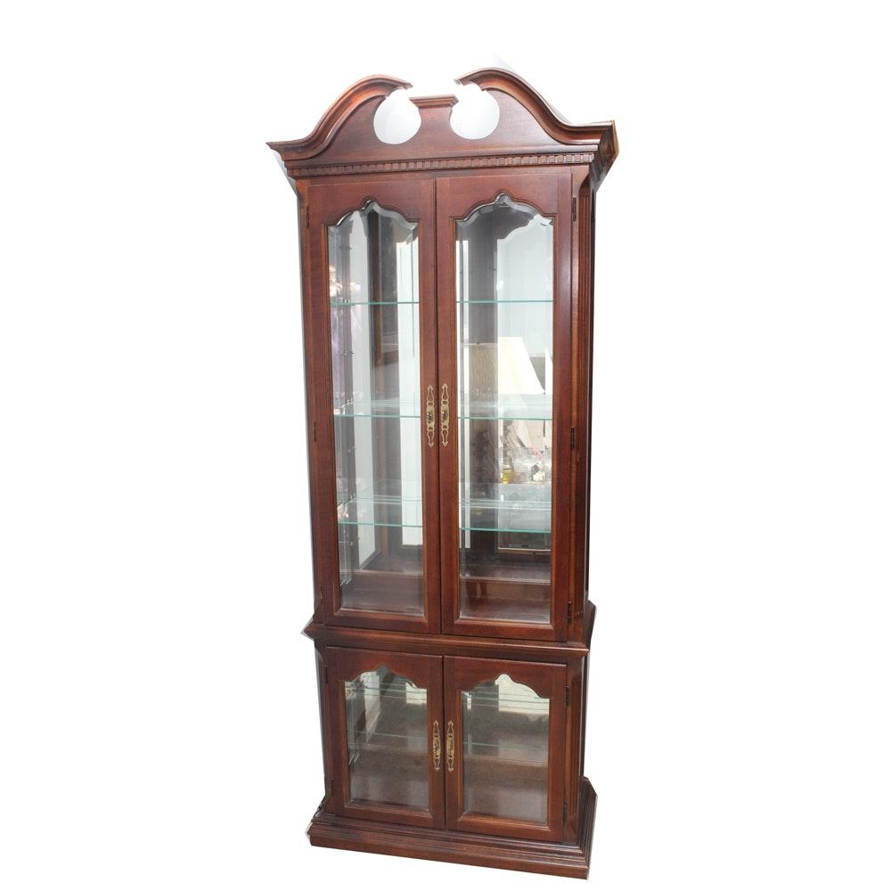 Vintage Cherry Veneer Curio Cabinet
