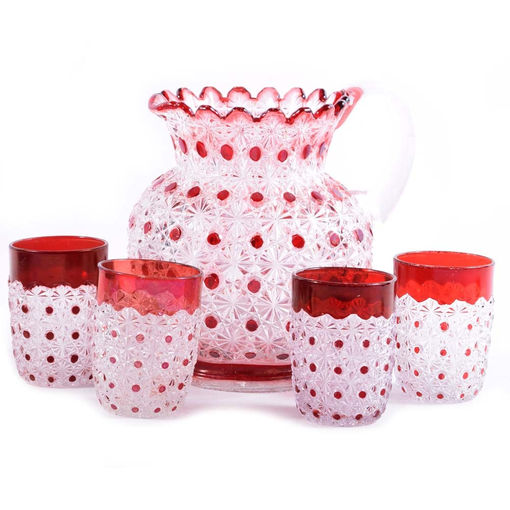 Antique Bryce Brother Daisy and Button Ruby Flashed Lemonade Set