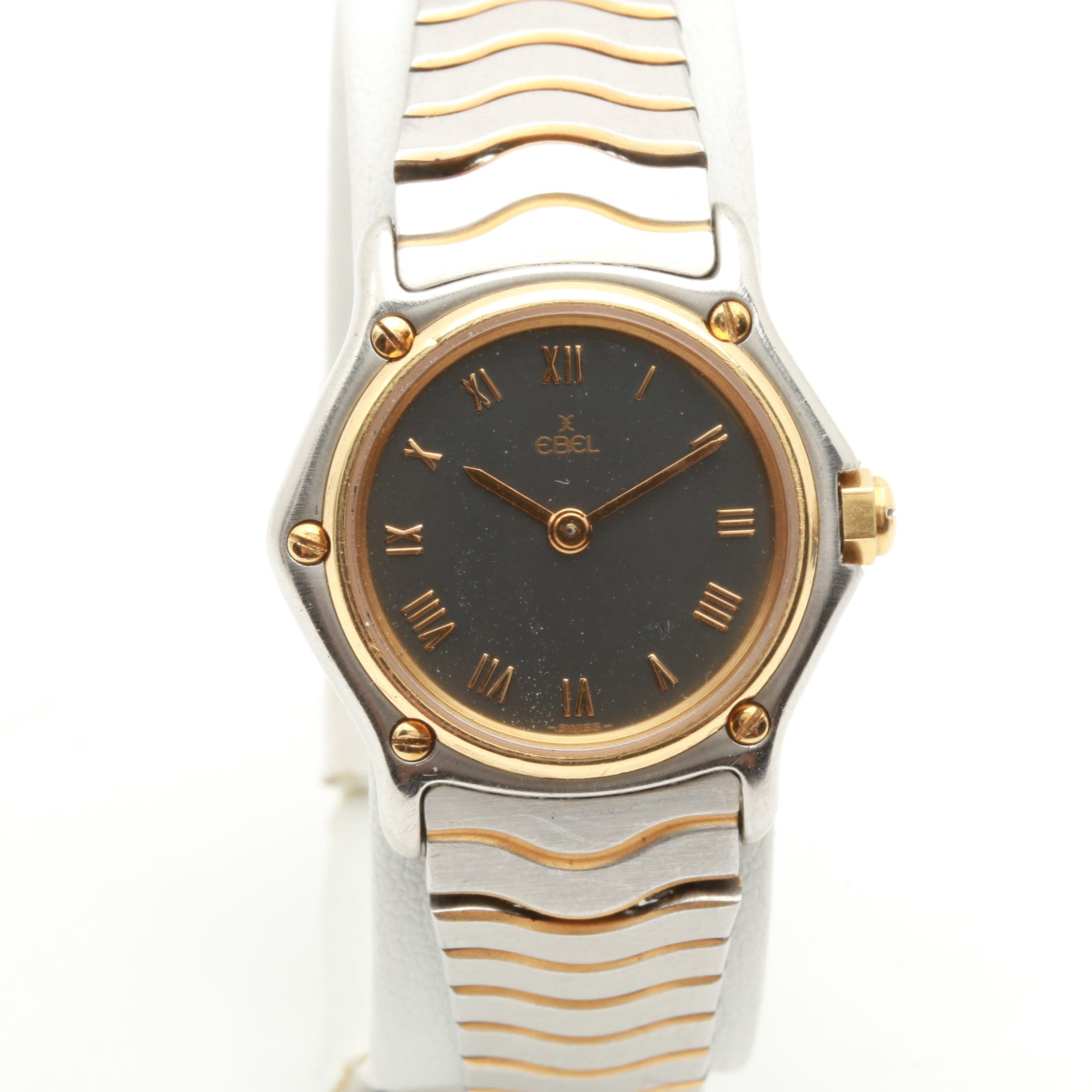 Ebel Wave Stainless Steel Wristwatch with 18K Yellow Gold Accents
