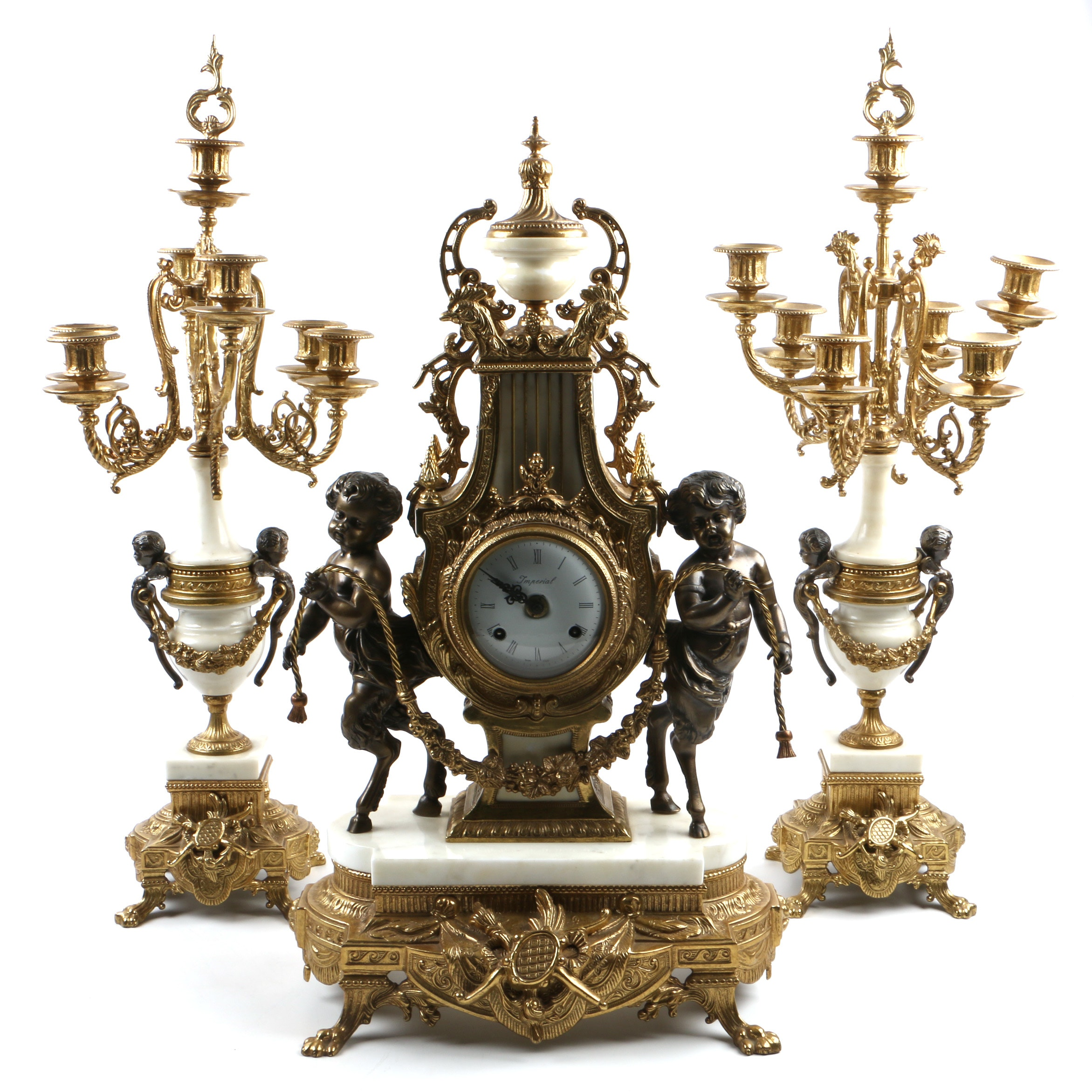 Italian Rococo Style Gilt Metal and Marble Clock Garniture Set by Brevettato