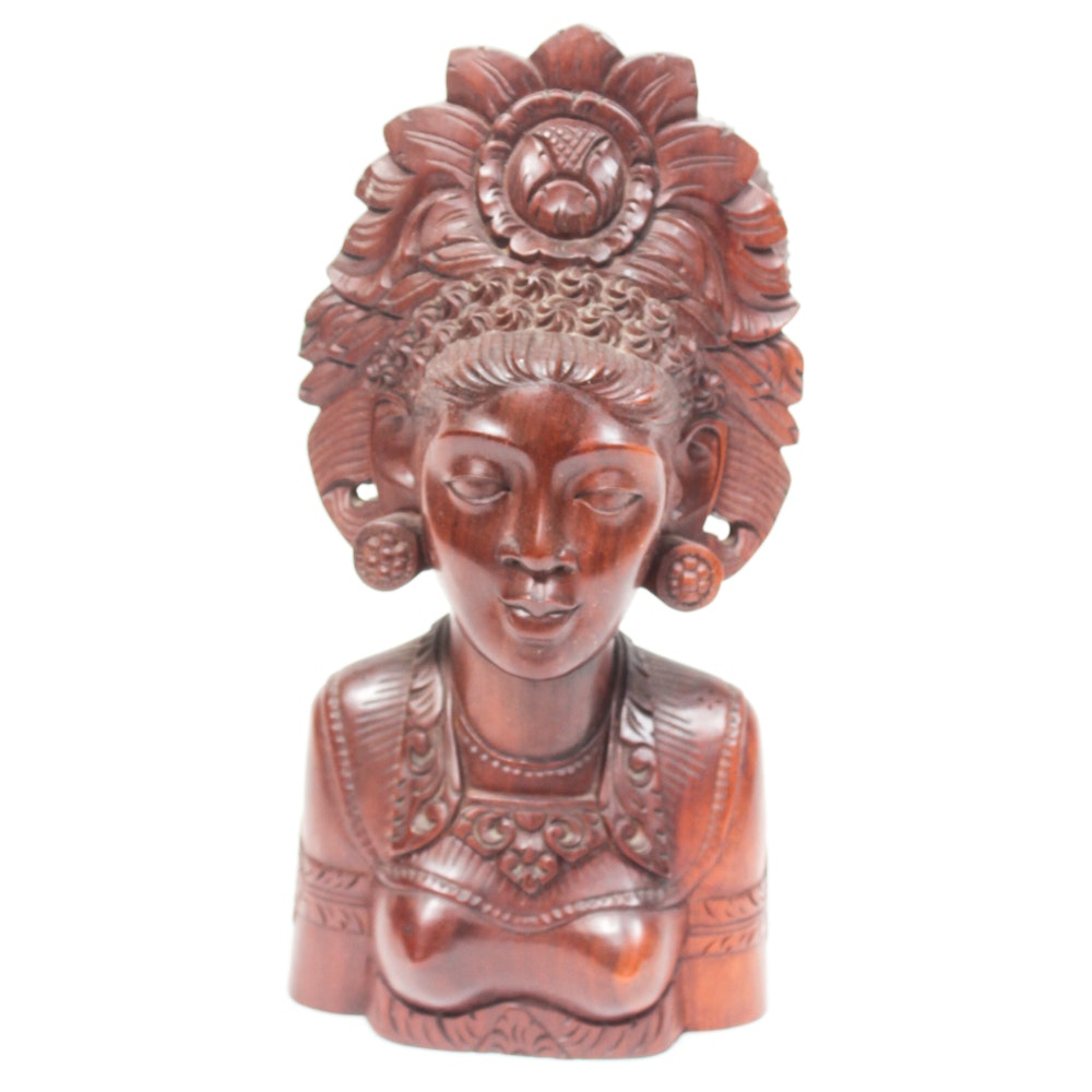 Balinese Wood Carved Bust Sculpture