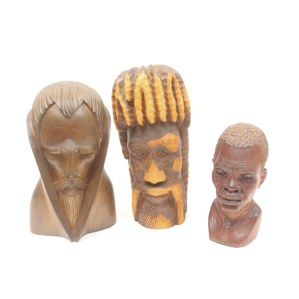 Carved Wood Tribal Bust Sculptures
