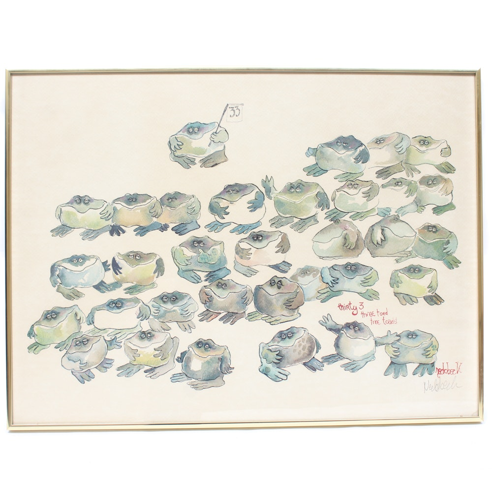 "Don Nedobeck Signed Offset Lithograph Print ""Thirty 3 Three Toed Tree Toads"""