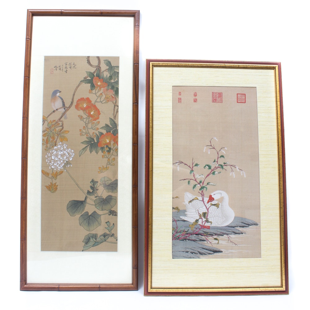 Chinese Gouache Painting and Framed Embroidery