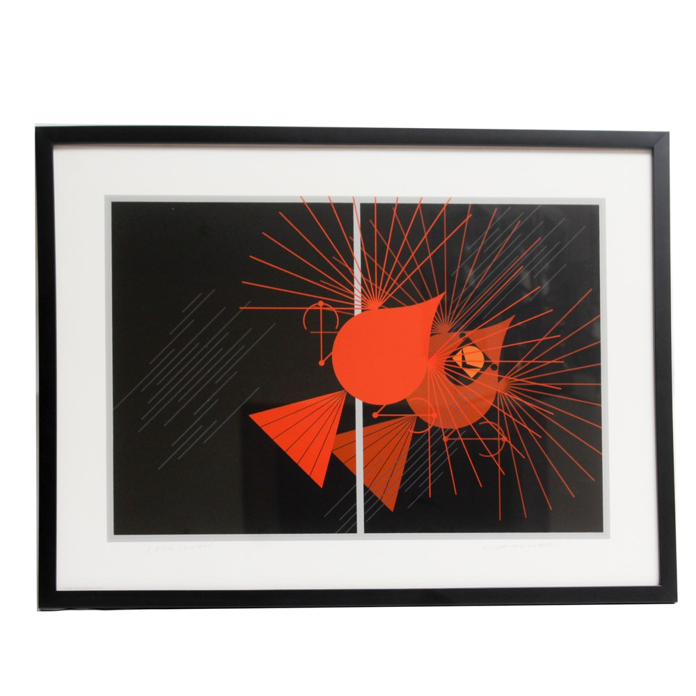 "Charley Harper Limited Edition Signed Serigraph ""Seeing Red"""