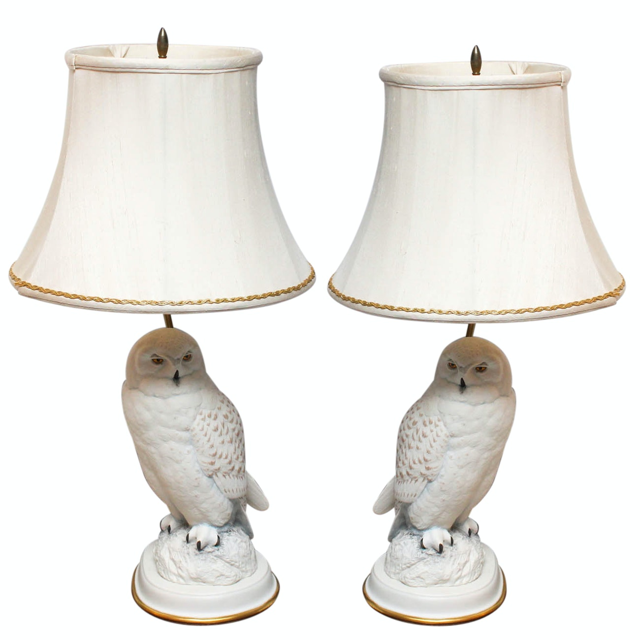"""Raymond Watson for The Franklin Mint Table Lamps """"The Snowy Owl"""""""