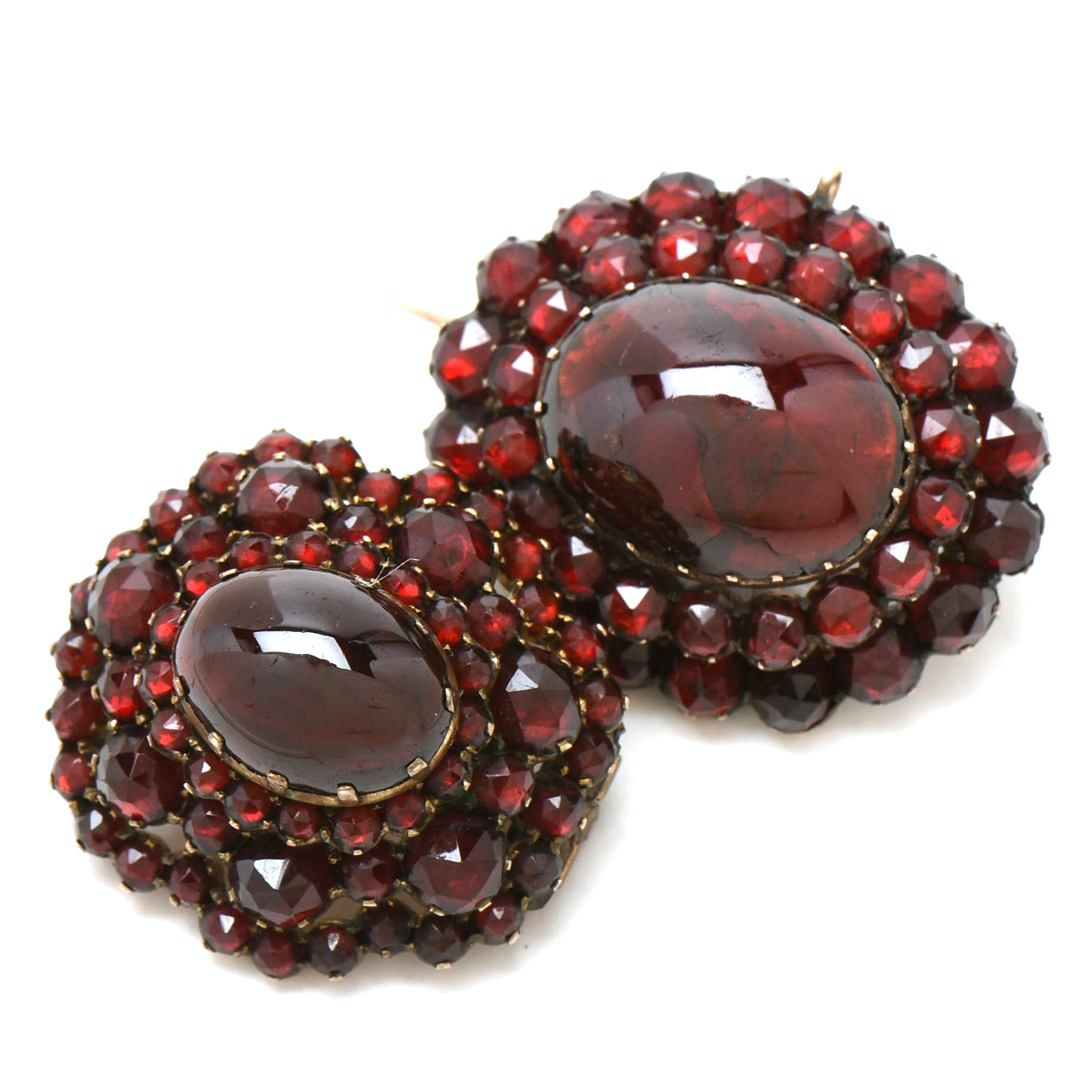 Pairing of Victorian Bohemian Garnet Tiered Pins