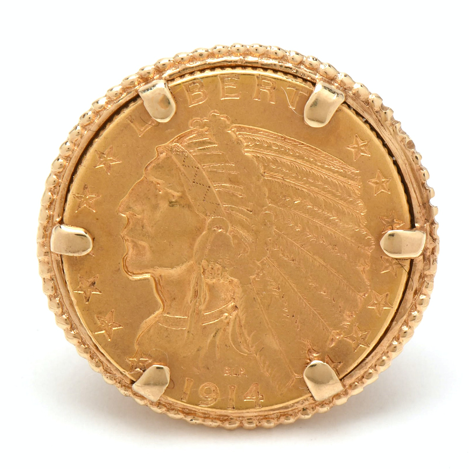 14K Yellow Gold Ring with 1914 Indian Head $5 Half Eagle Coin
