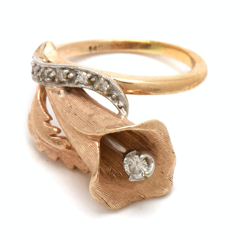 Vintage 14K Yellow Gold Cala Lily Motif Diamond Ring