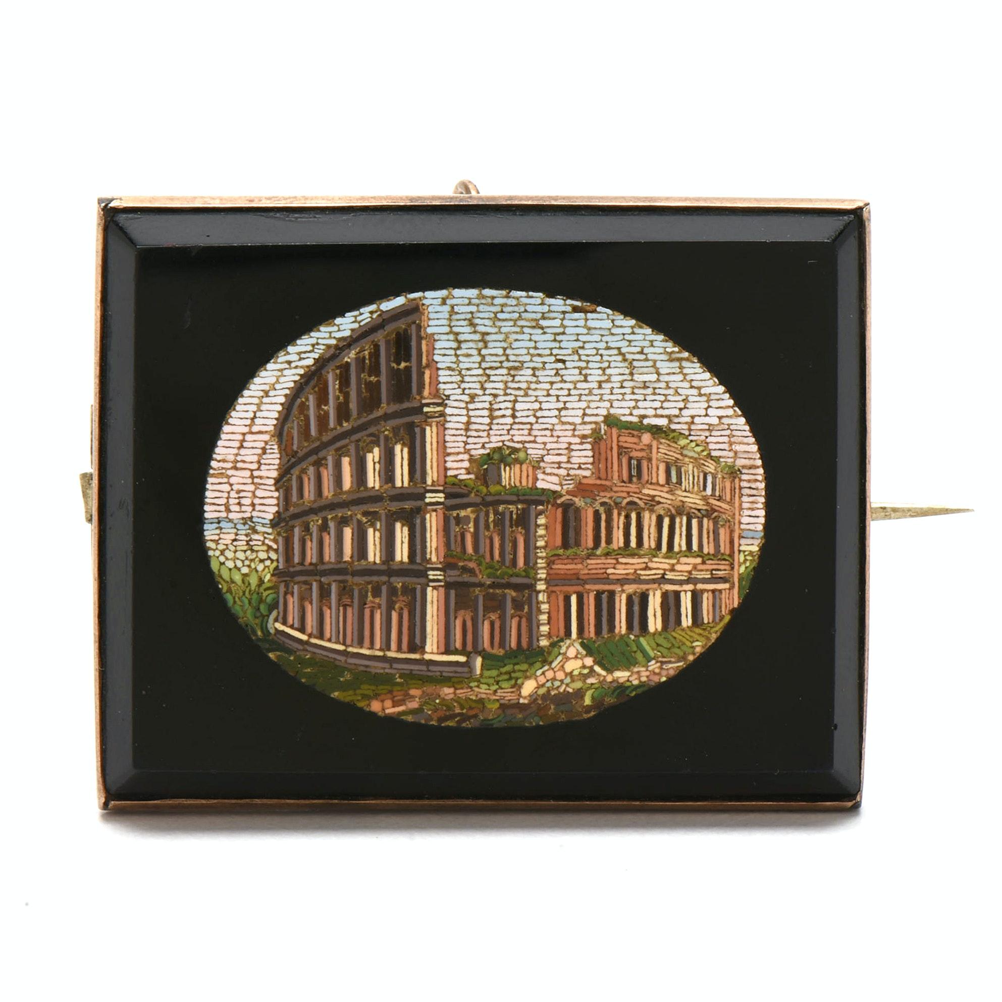 Victorian Glass Tesserae Micro-Mosaic Rome Colosseum Souvenir Brooch