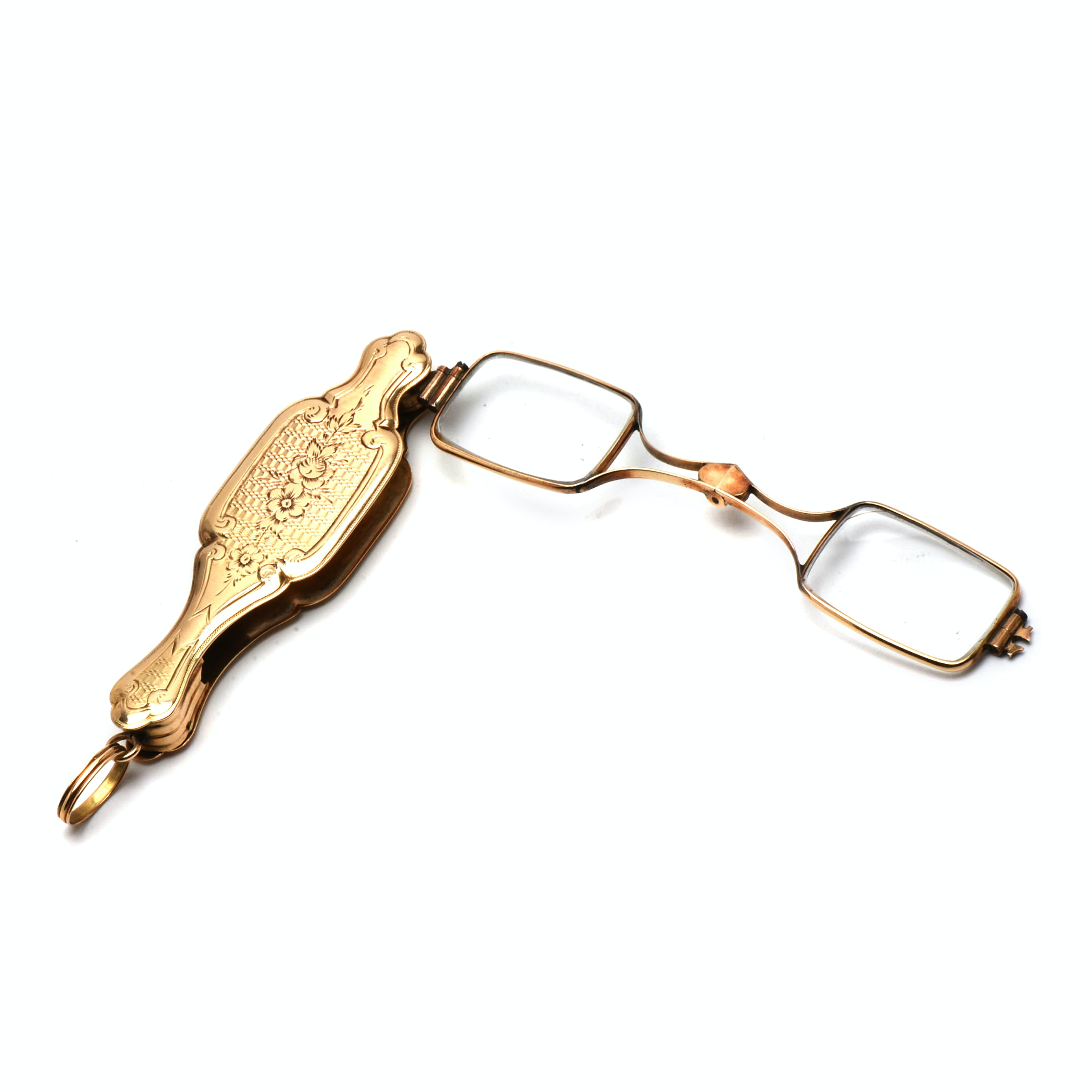 Victorian 14K Yellow Gold Engraved Lorgnette