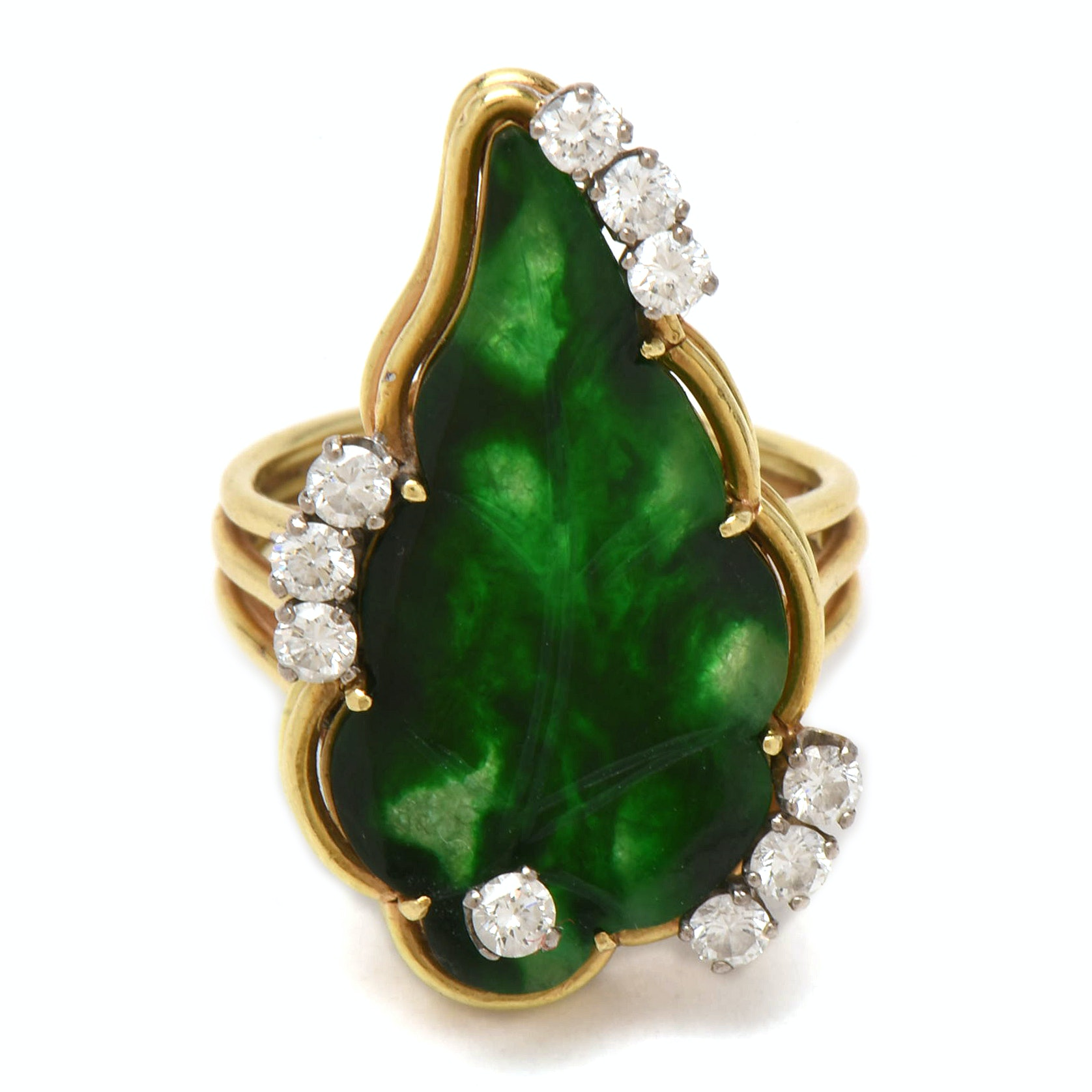 18K Yellow Gold Dyed Jadeite Leaf Motif and Diamond Ring