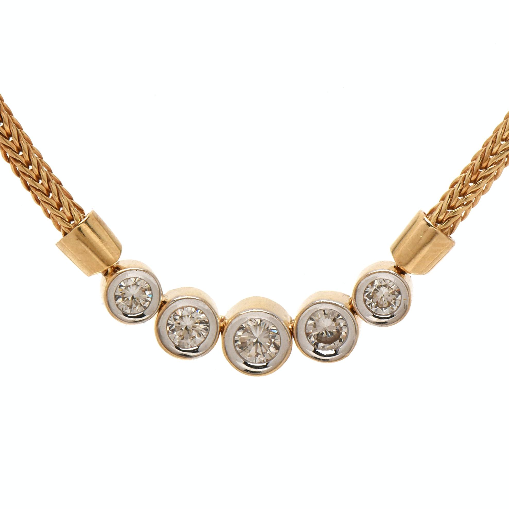 14K Yellow Gold Five Diamond Necklace