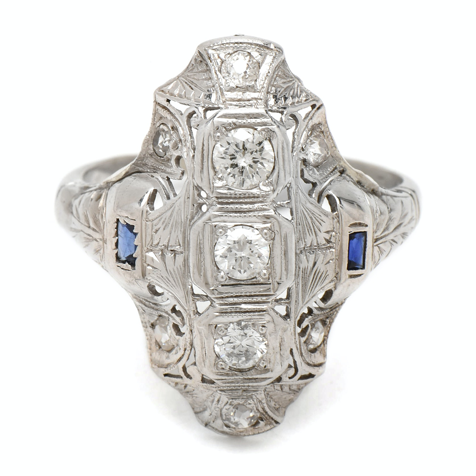 Vintage 18K White Gold Diamond and Synthetic Sapphire Openwork Ring