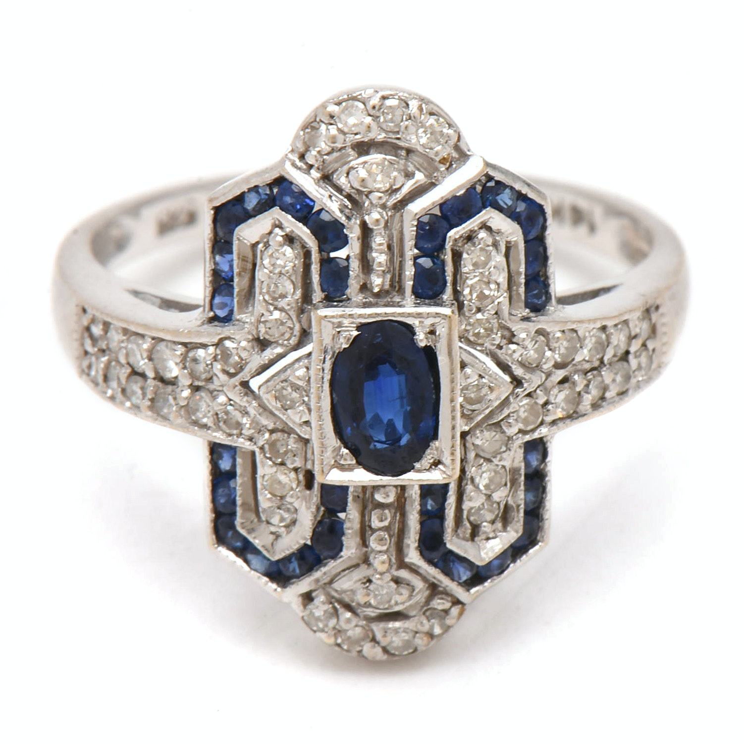 Art Deco 14K White Gold Blue Sapphire and Diamond Ring
