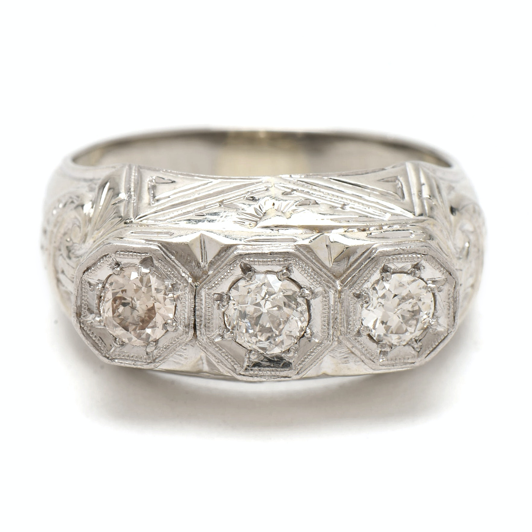 Art Deco 18K White Gold Three Diamond Ring