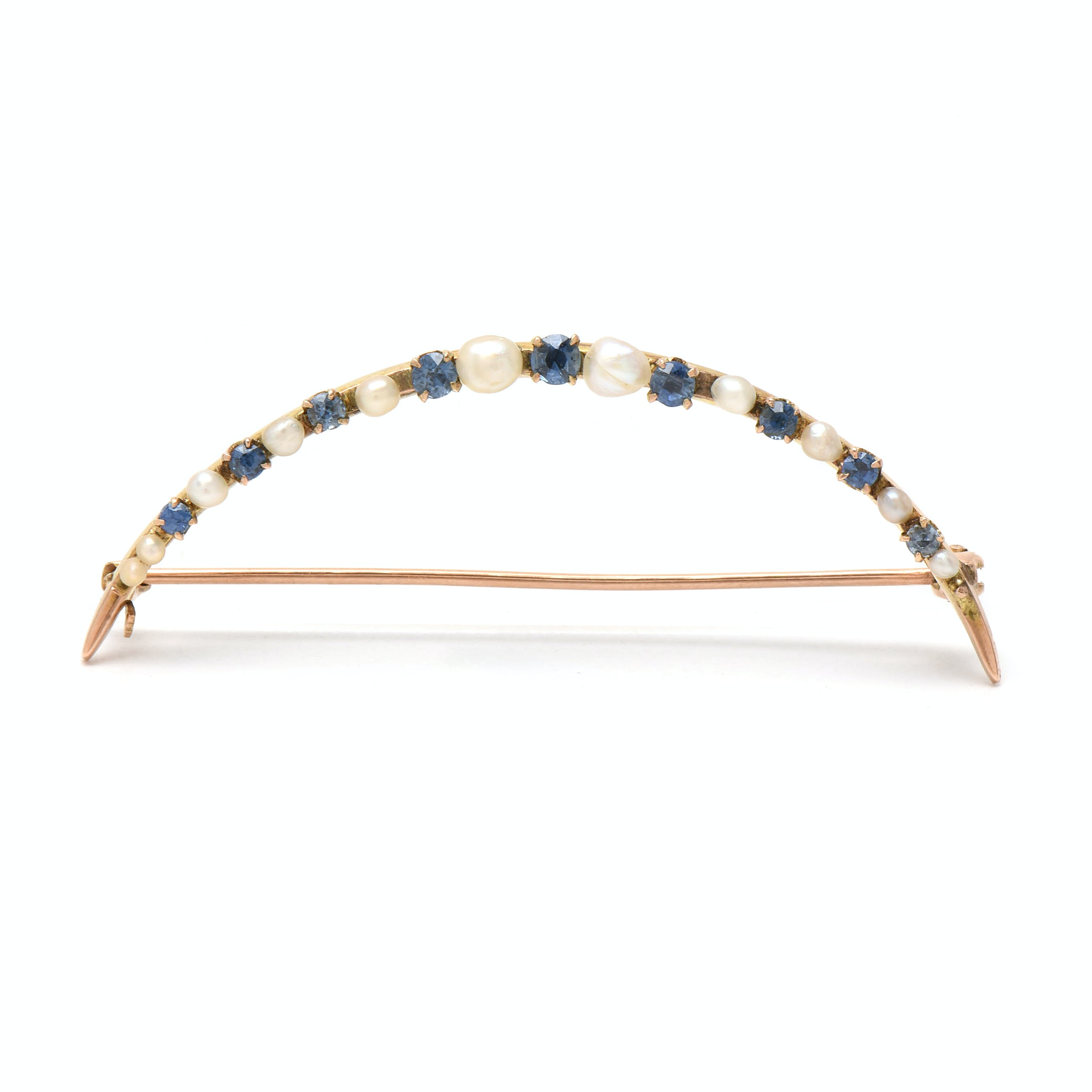 Vintage 10K Yellow Gold Blue Sapphire and Seed Pearl Crescent Moon Brooch